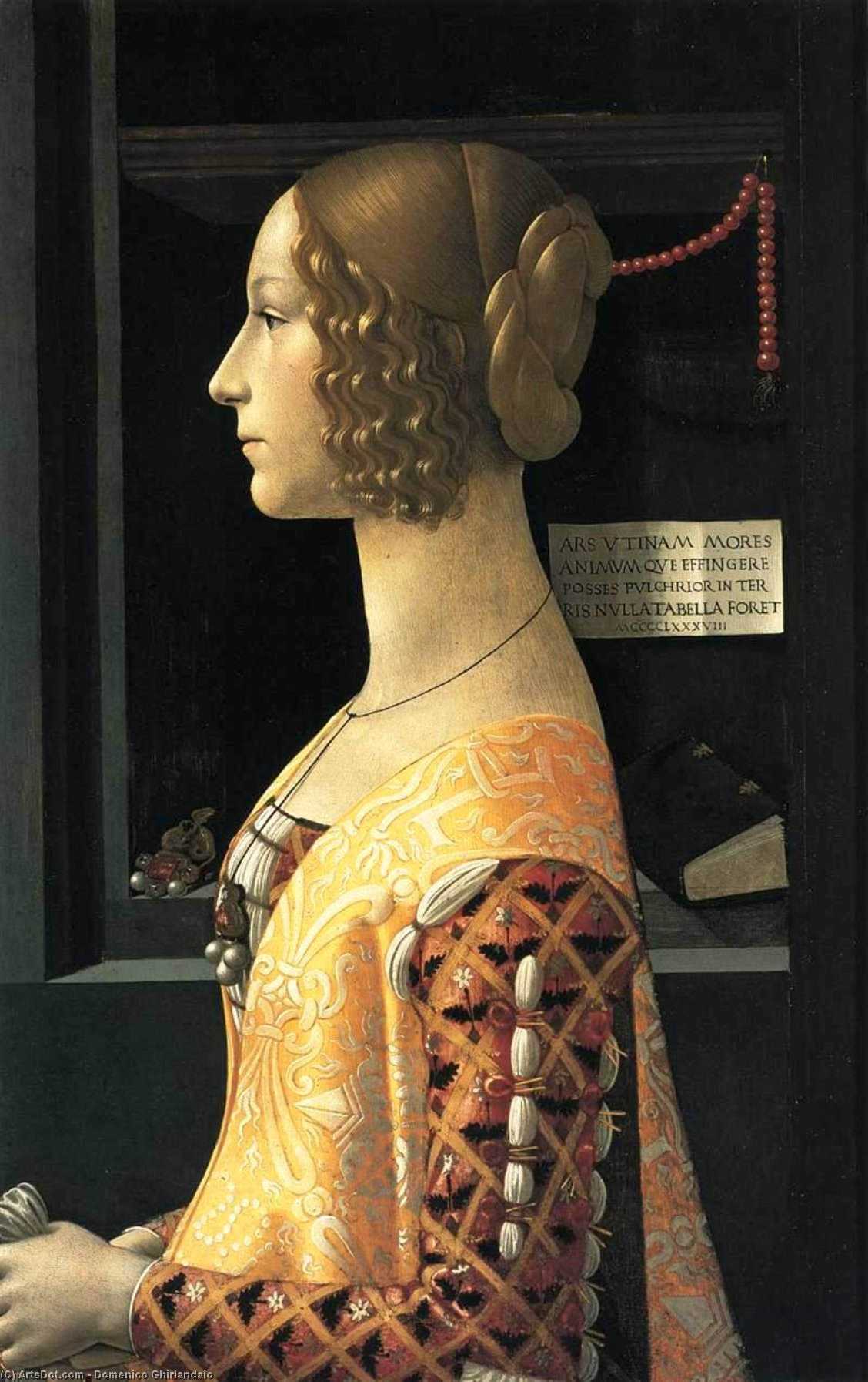 Portrait of Giovanna Tornabuoni, Oil On Panel by Domenico Ghirlandaio (1449-1494, Italy)