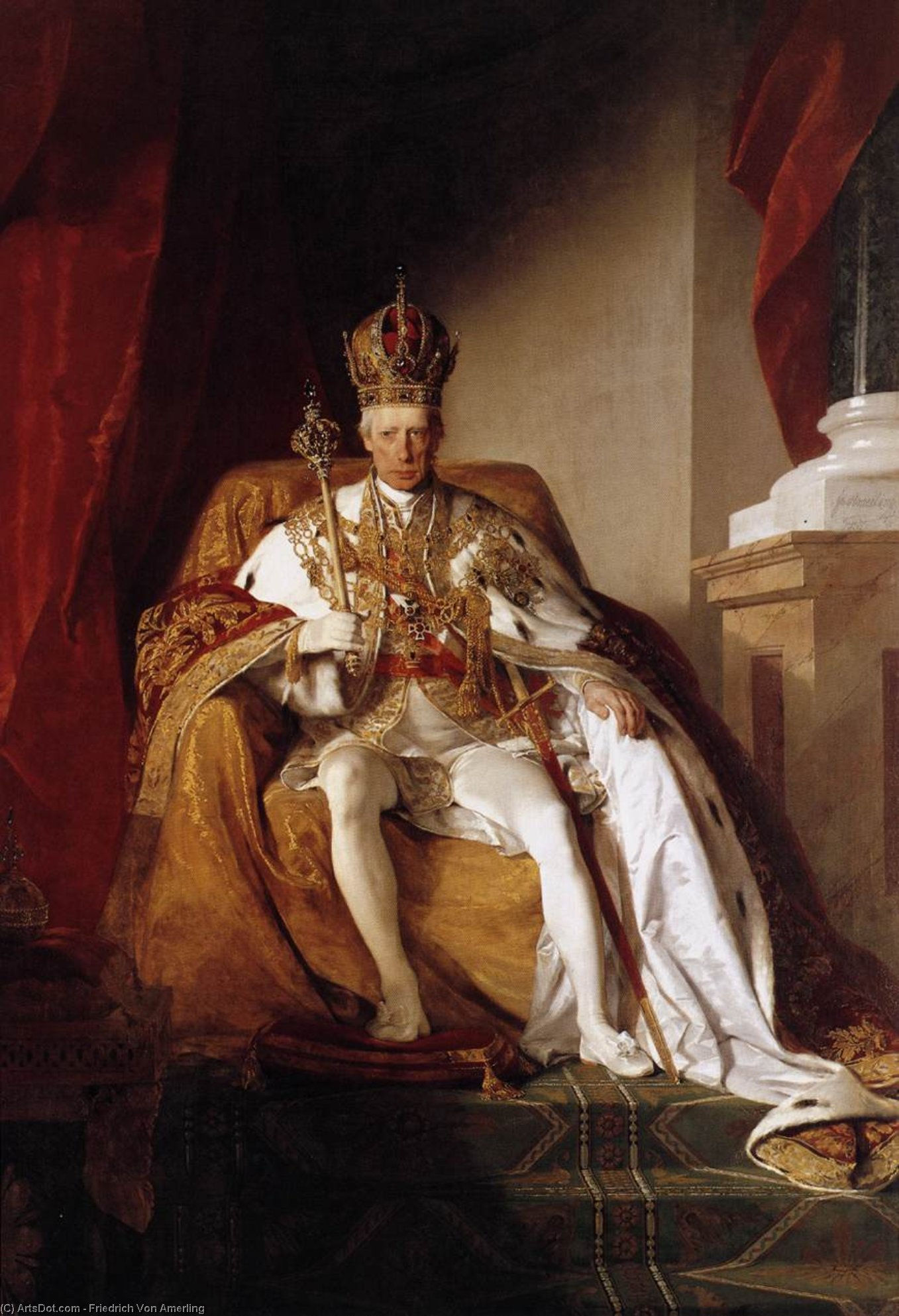 Emperor Franz I of Austria in his Coronation Robes, Oil On Canvas by Friedrich Ritter Von Amerling (1803-1887)