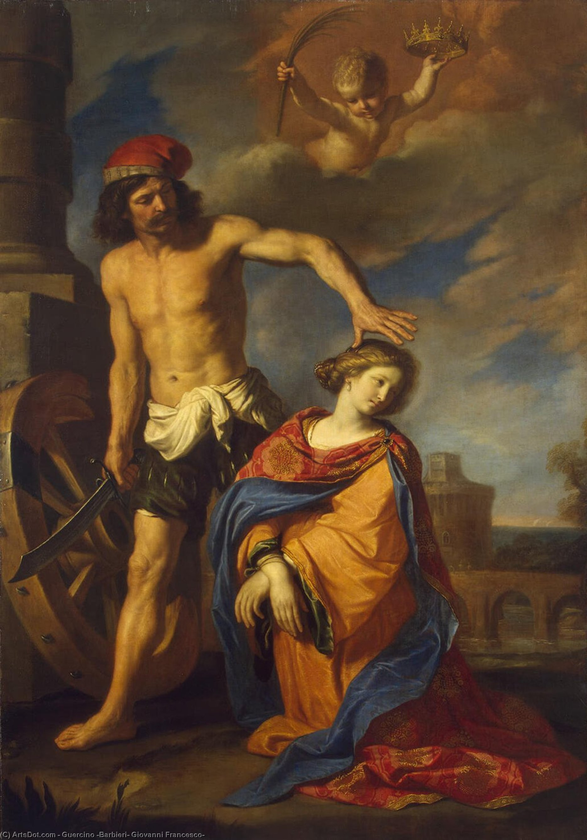 Martyrdom of St Catherine, Oil by Guercino (Barbieri, Giovanni Francesco) (1591-1666, Italy)