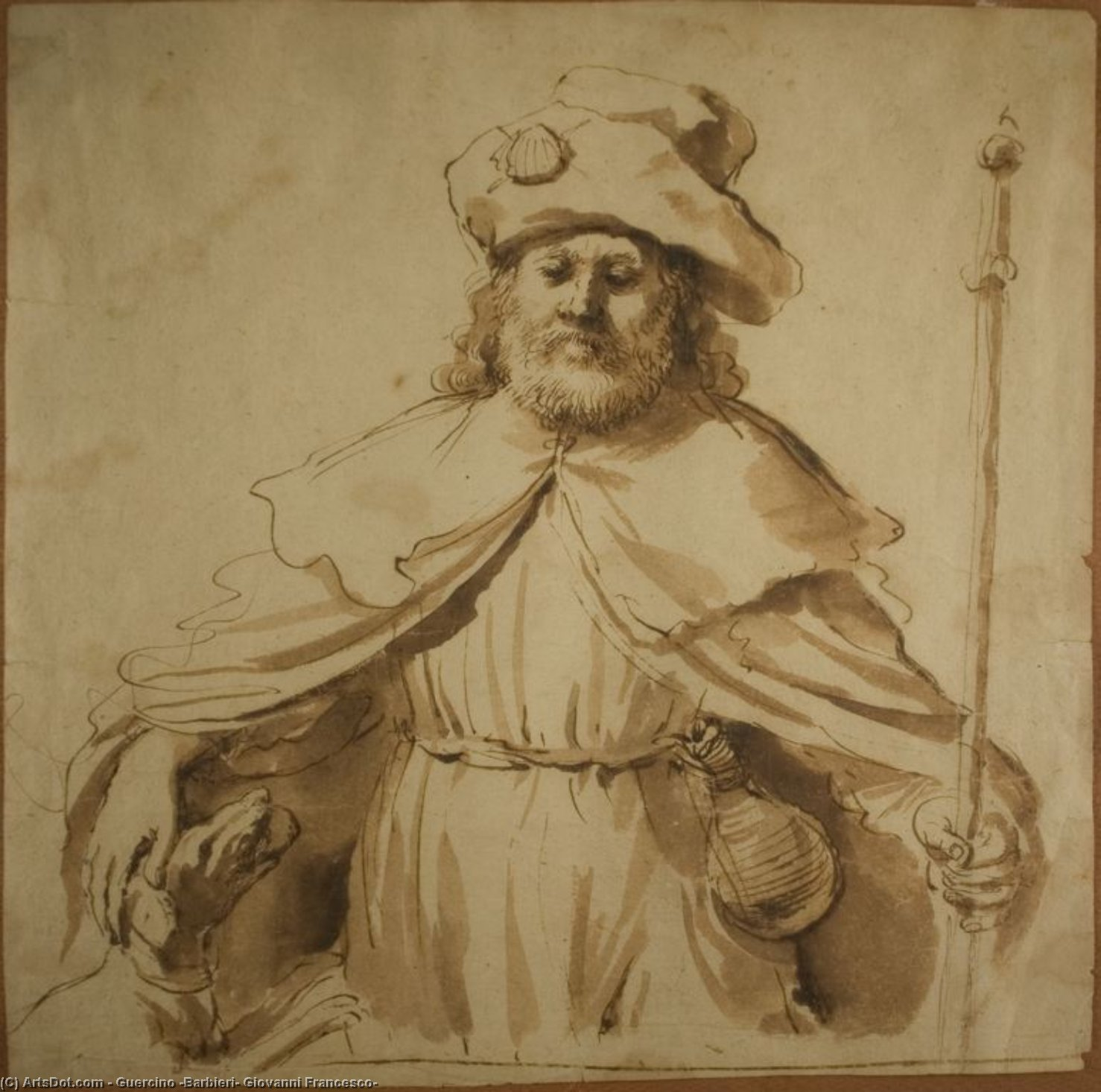Saint Roch, Drawing by Guercino (Barbieri, Giovanni Francesco) (1591-1666, Italy)