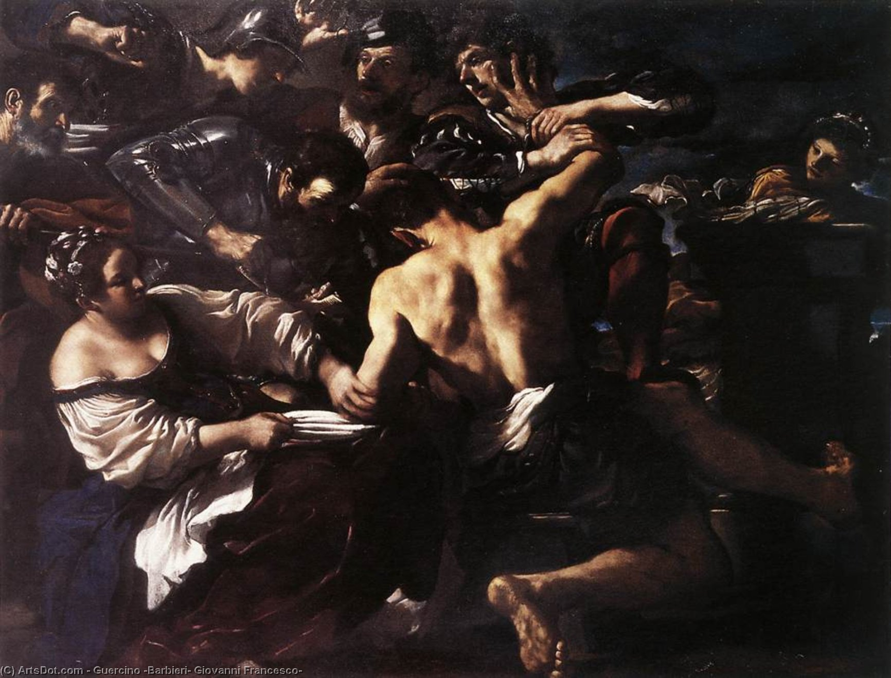 Samson Captured by the Philistines, Oil by Guercino (Barbieri, Giovanni Francesco) (1591-1666, Italy)