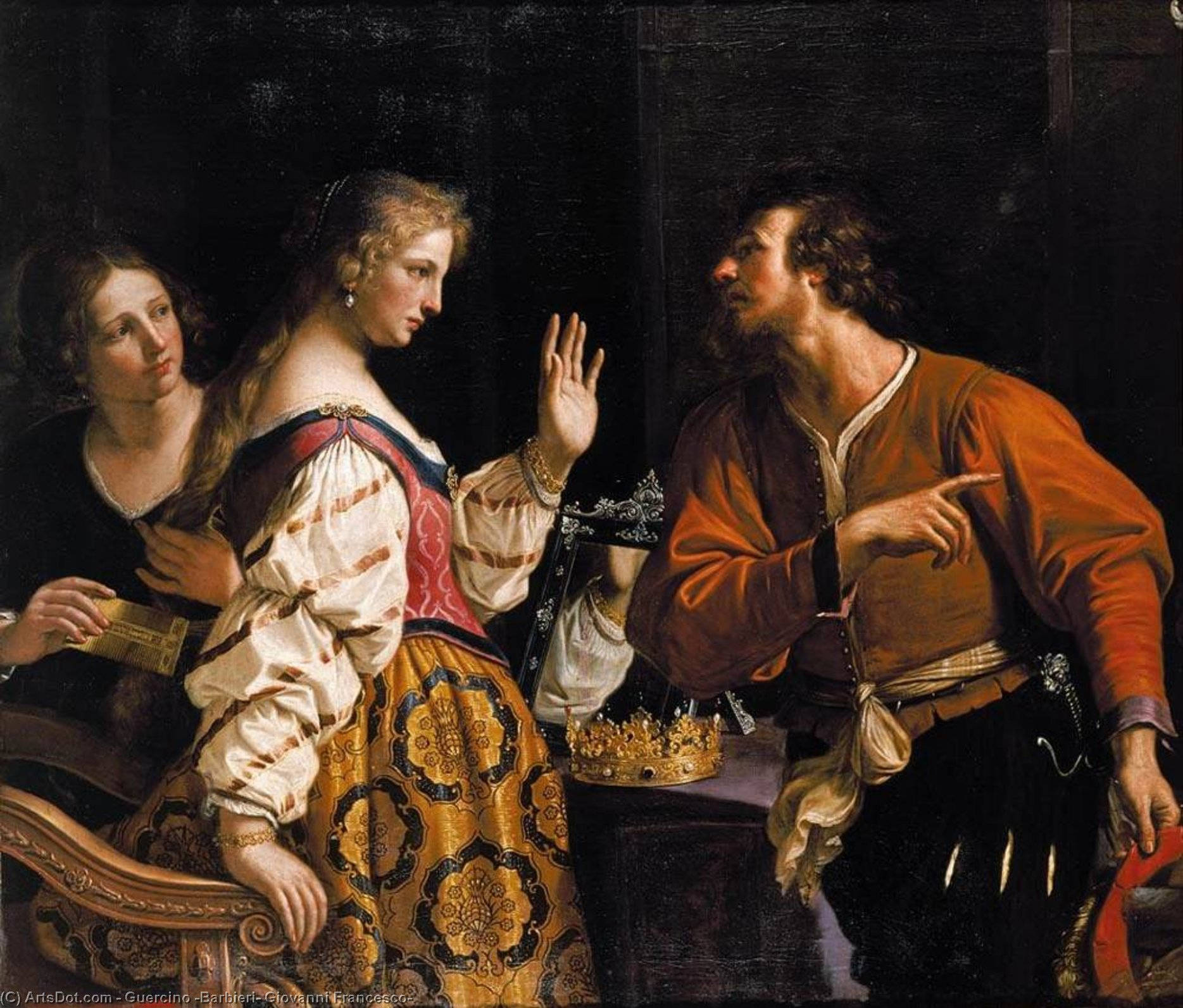 Semiramis Called to Arms, Oil by Guercino (Barbieri, Giovanni Francesco) (1591-1666, Italy)