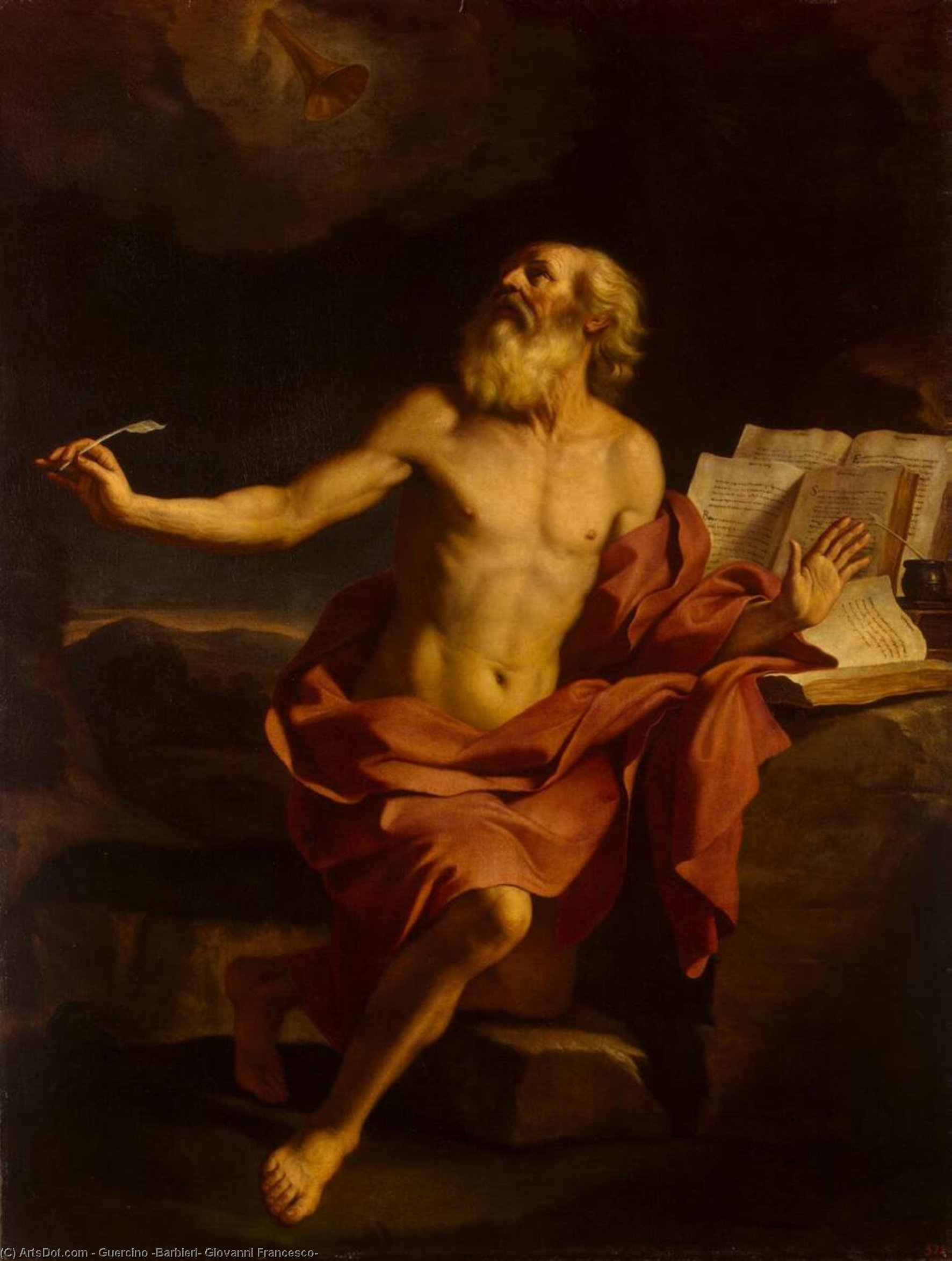 St Jerome in the Wilderness, Oil by Guercino (Barbieri, Giovanni Francesco) (1591-1666, Italy)