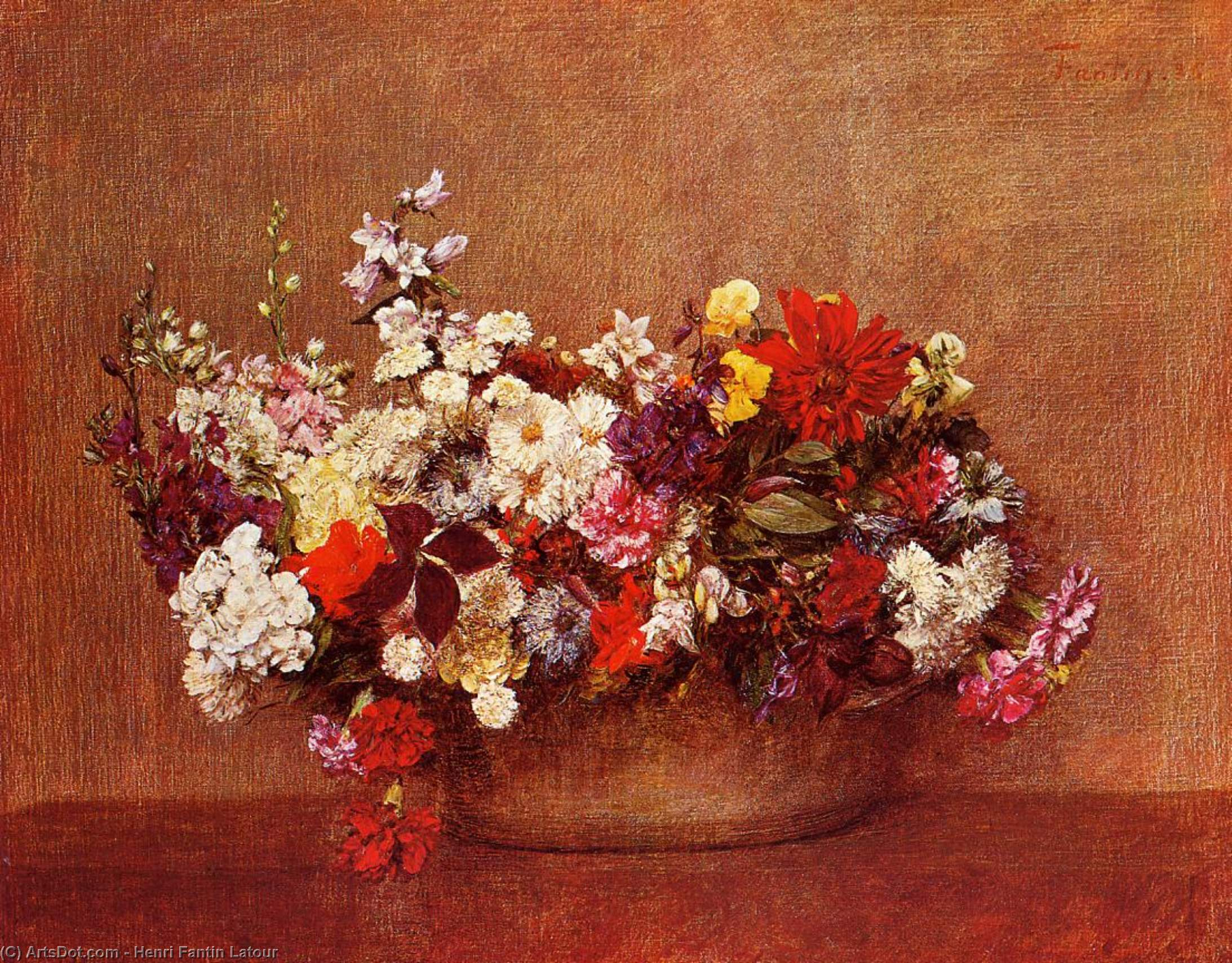 Flowers in a Bowl, Oil by Henri Fantin Latour (1836-1904, France)
