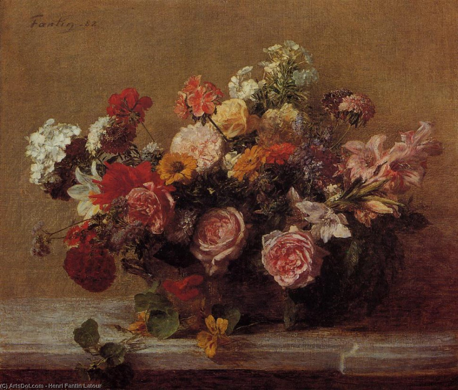 Flowers, Oil by Henri Fantin Latour (1836-1904, France)