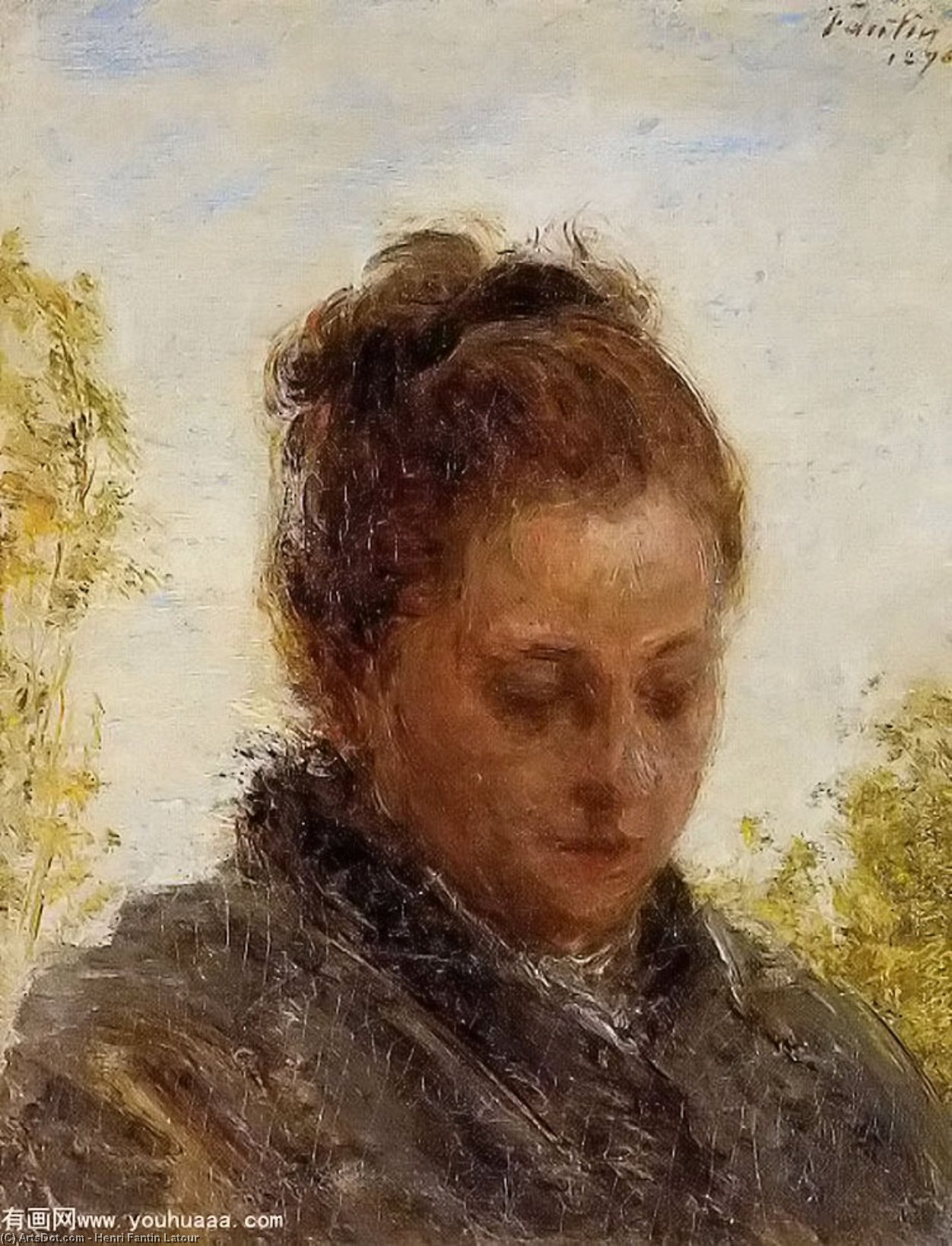 Head of a Young Woman, Oil by Henri Fantin Latour (1836-1904, France)