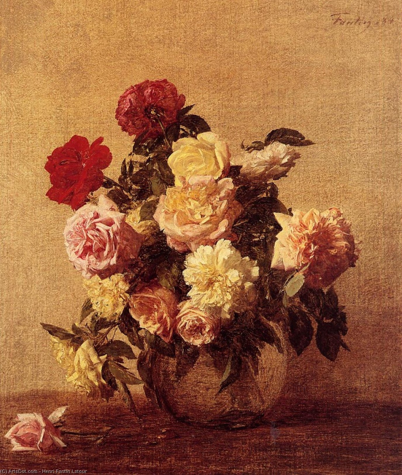 Roses 11, Oil by Henri Fantin Latour (1836-1904, France)