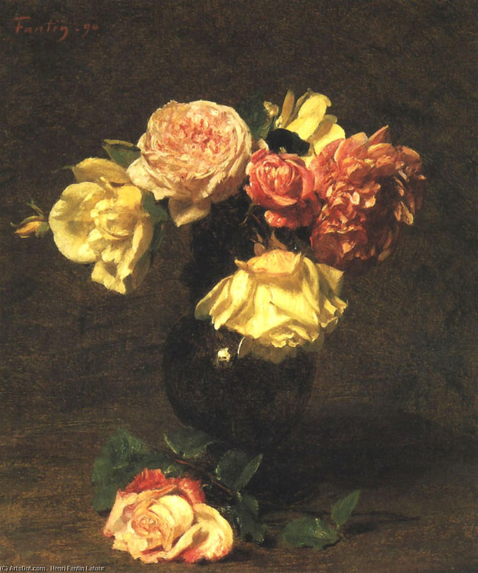 White and Pink Roses, Oil by Henri Fantin Latour (1836-1904, France)