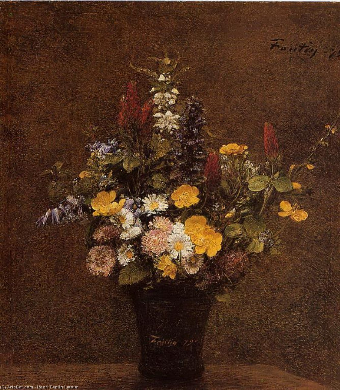 Wildflowers, Oil by Henri Fantin Latour (1836-1904, France)