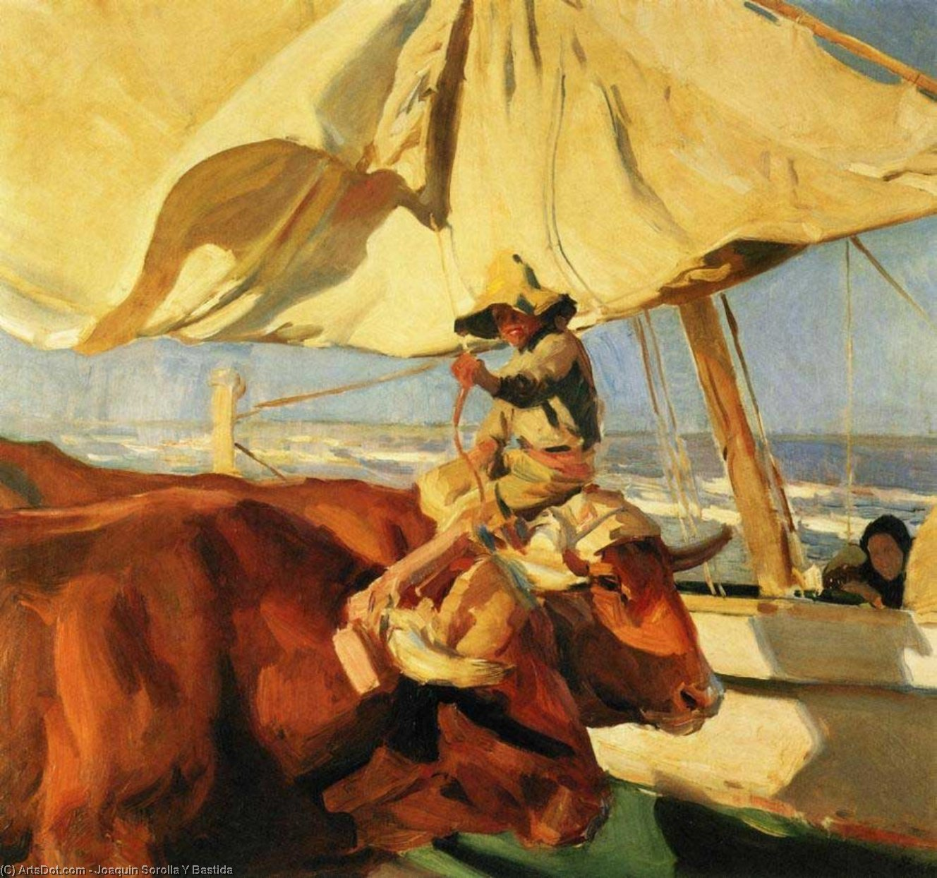 Afternoon Sun, Playa de Valencia, Oil by Joaquin Sorolla Y Bastida (1863-1923, Spain)