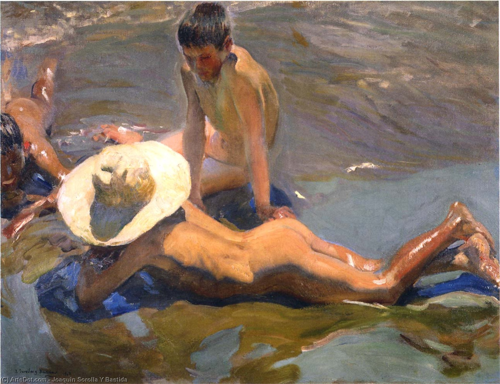 Boys on the Beach 1, Oil by Joaquin Sorolla Y Bastida (1863-1923, Spain)