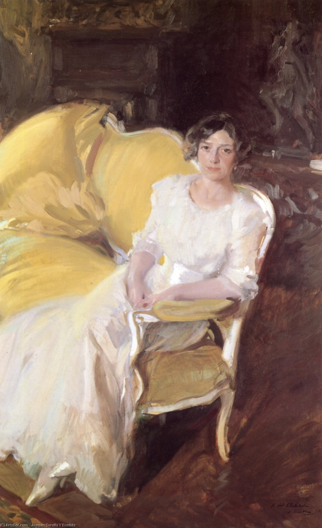 Clotilde Sitting on the Sofa, Oil On Canvas by Joaquin Sorolla Y Bastida (1863-1923, Spain)