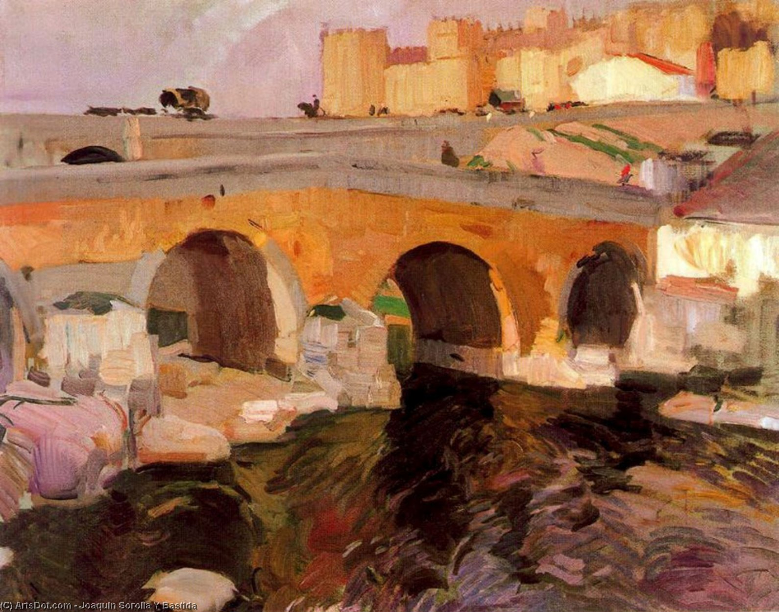 El Puente Viejo de Avila, Oil On Canvas by Joaquin Sorolla Y Bastida (1863-1923, Spain)
