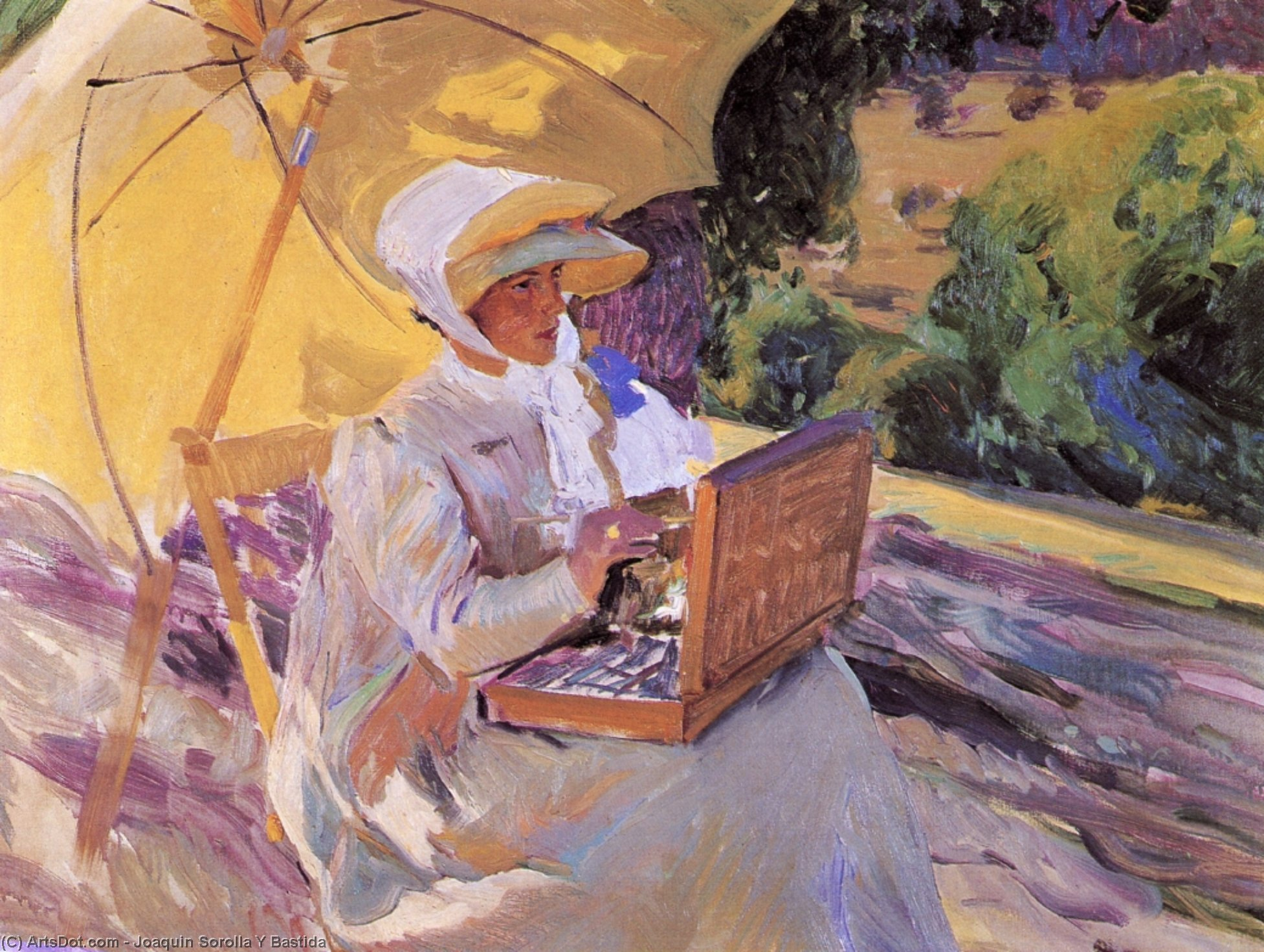 Maria Painting in El Pardo, Oil On Canvas by Joaquin Sorolla Y Bastida (1863-1923, Spain)