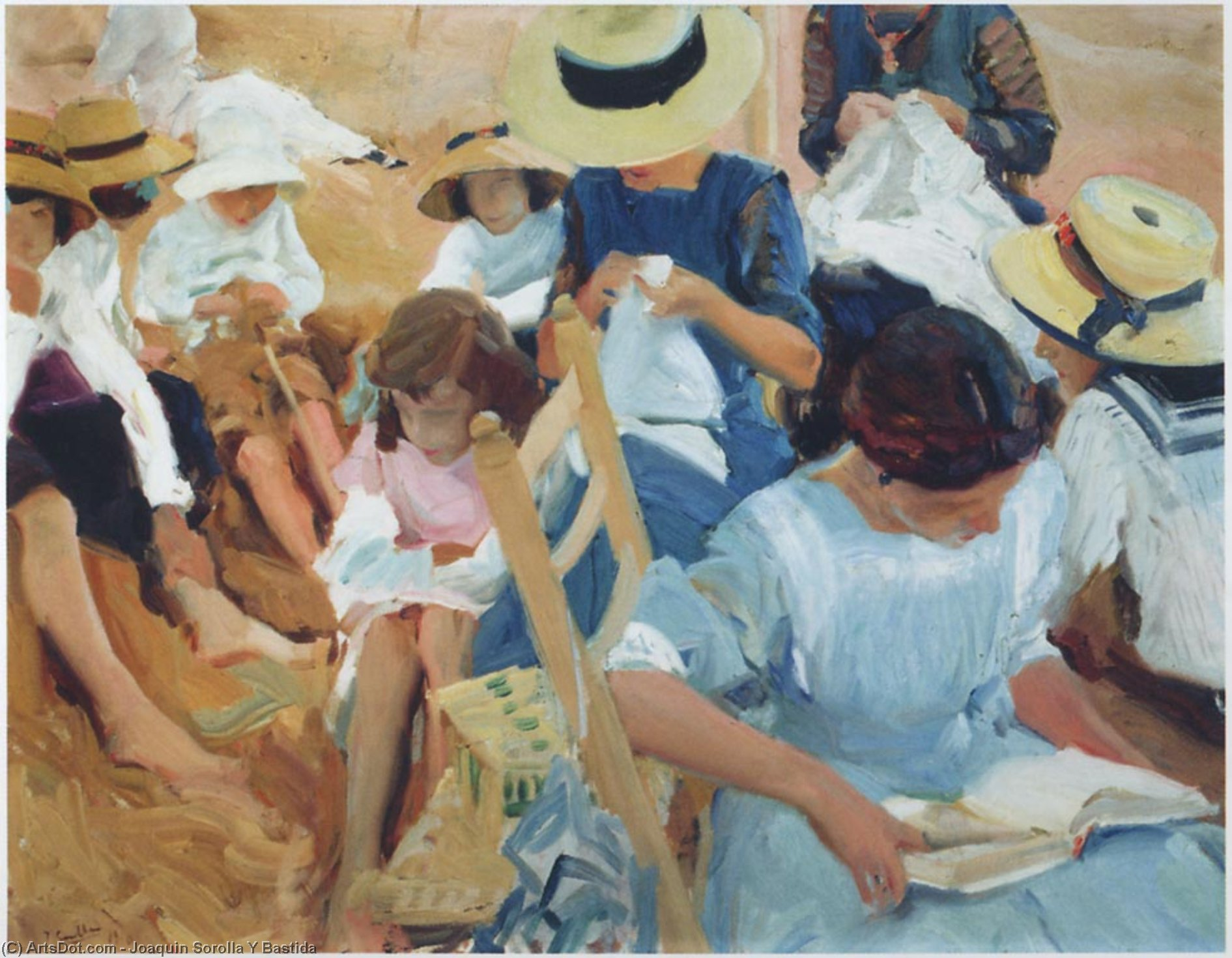 On the sands at Zarauz beach, Oil On Canvas by Joaquin Sorolla Y Bastida (1863-1923, Spain)