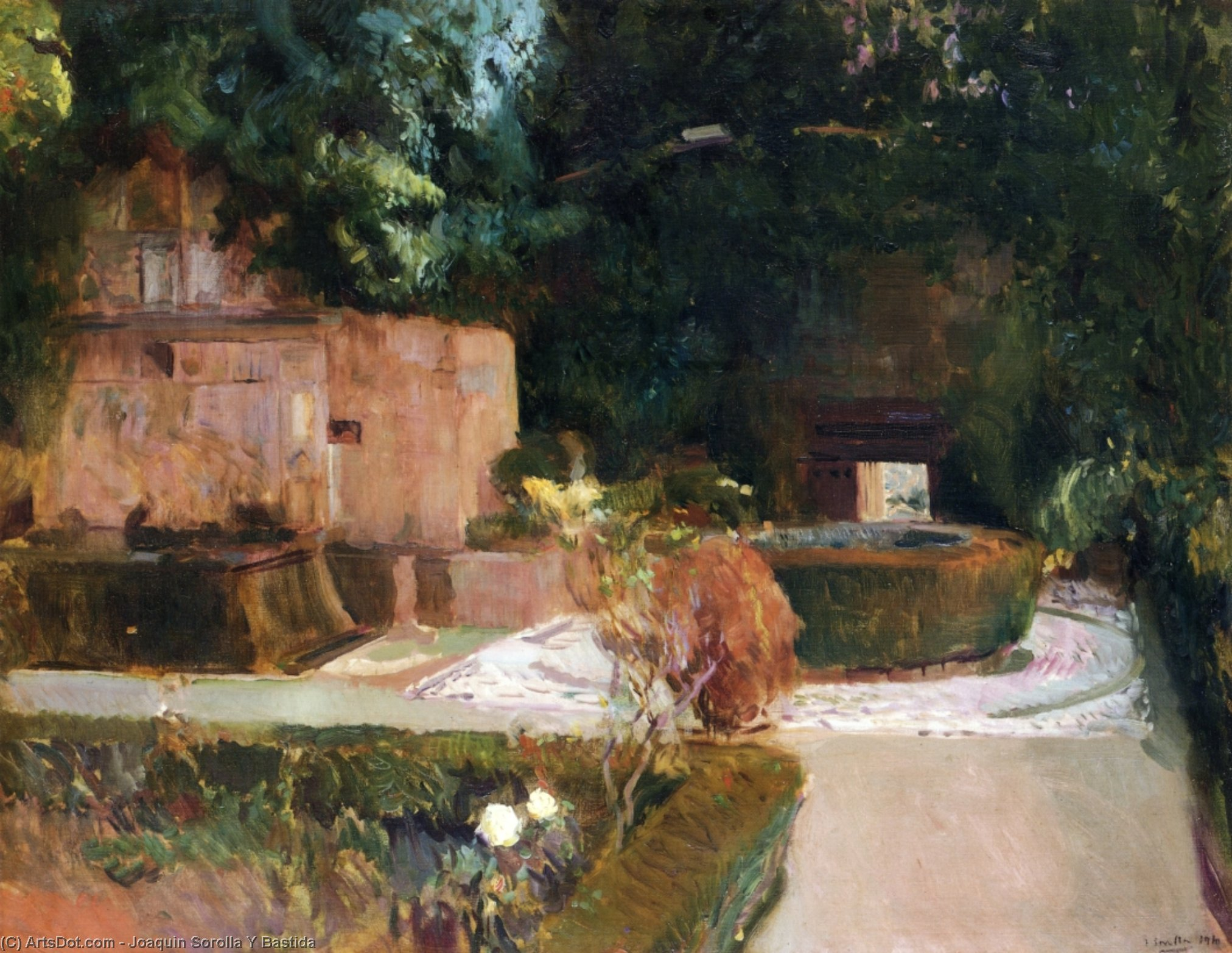 The Los Adarves Gardens, The Alhambra, Granada, Oil On Canvas by Joaquin Sorolla Y Bastida (1863-1923, Spain)