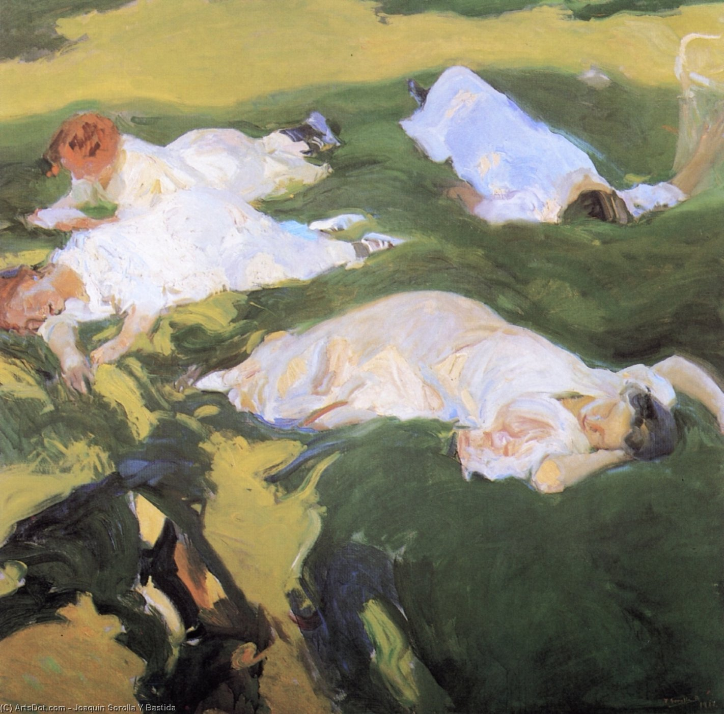 The Siesta, Oil On Canvas by Joaquin Sorolla Y Bastida (1863-1923, Spain)