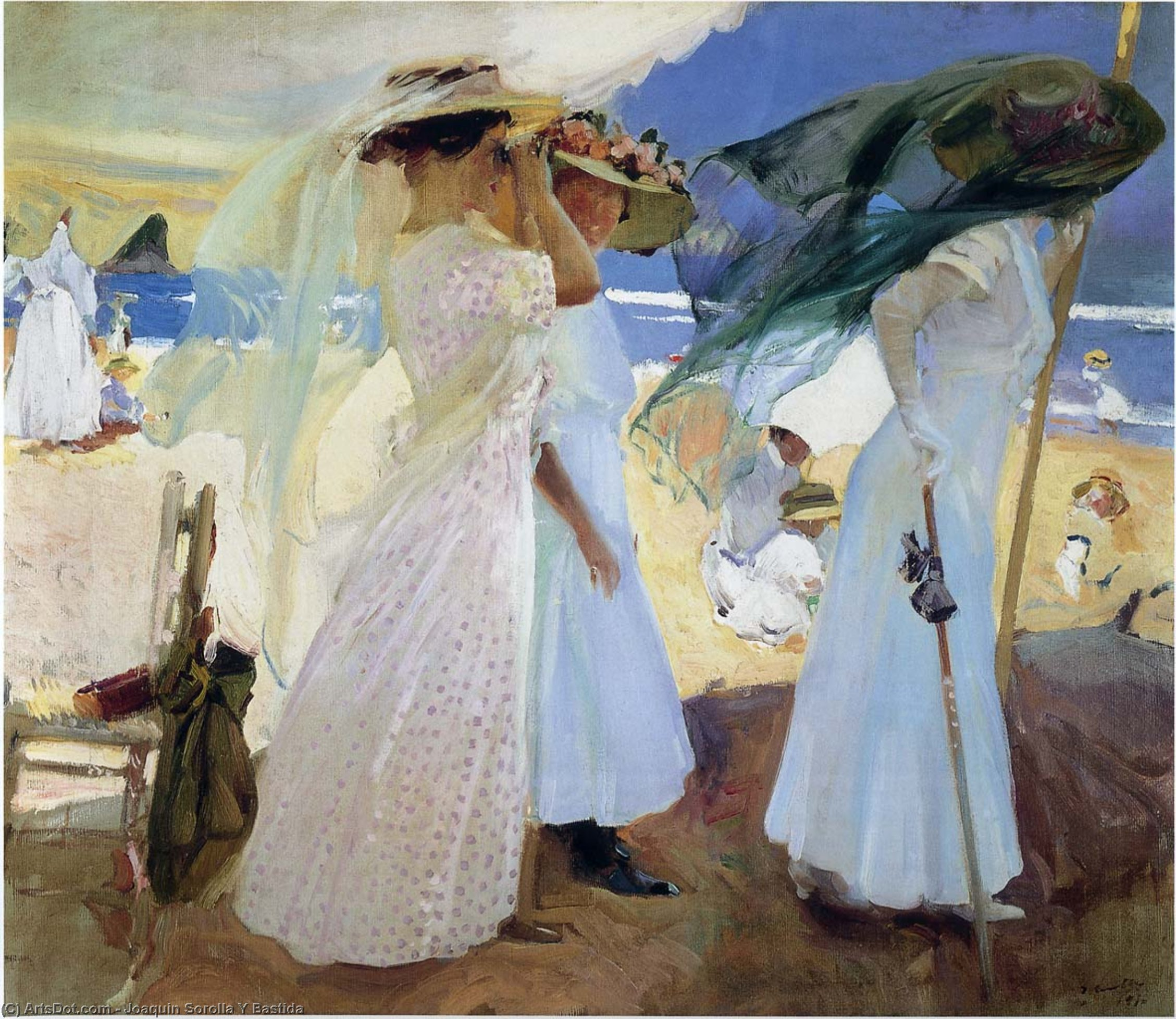 Under the awning, Zarauz, Oil On Canvas by Joaquin Sorolla Y Bastida (1863-1923, Spain)