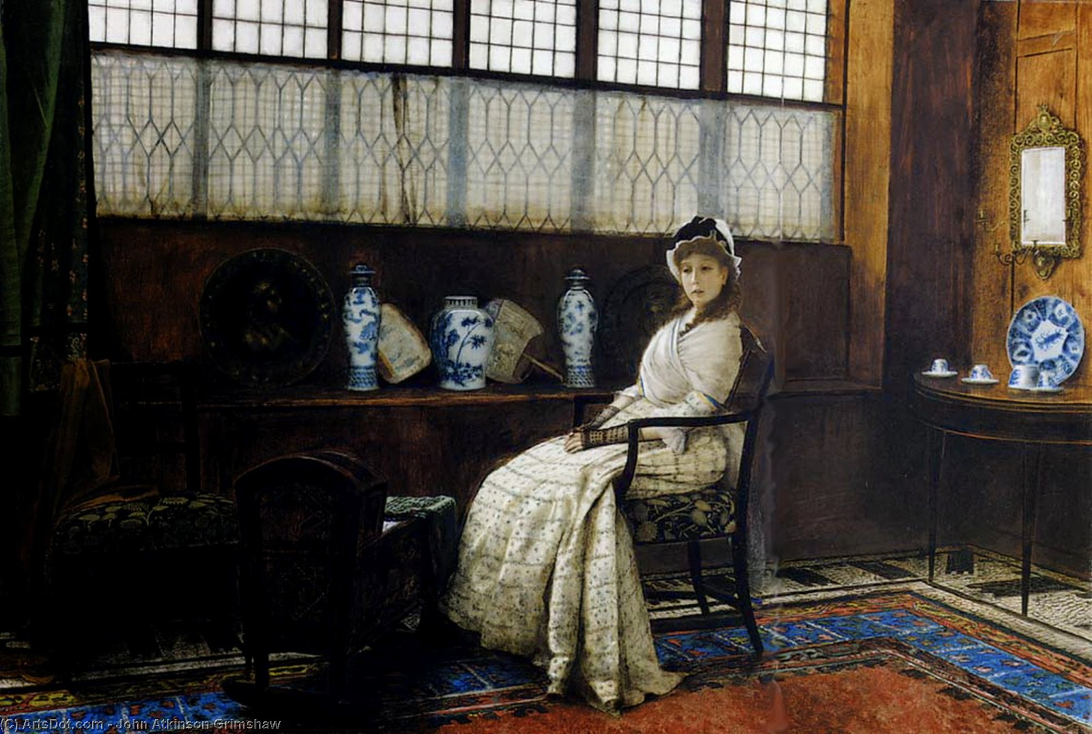 The Cradle Song by John Atkinson Grimshaw (1836-1893, United Kingdom) | Painting Copy | ArtsDot.com