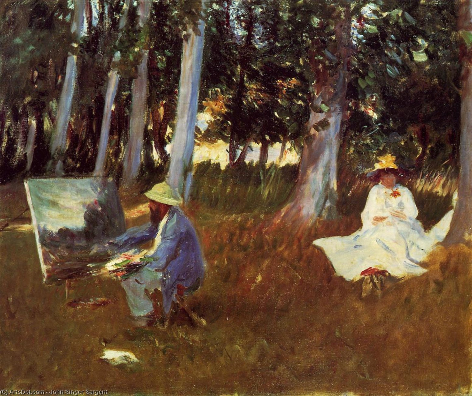 Claude Monet Painting by the Edge of a Wood, 1885 by John Singer Sargent (1856-1925, Italy) | Museum Quality Copies John Singer Sargent | ArtsDot.com