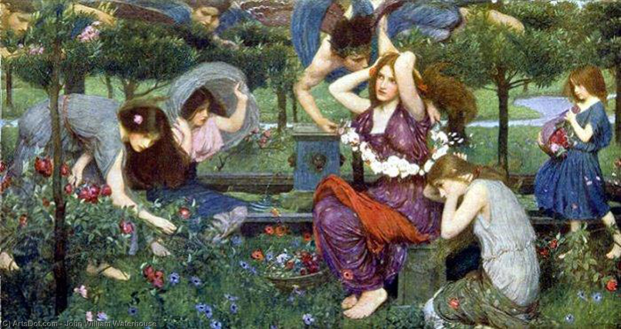 Flora and the Zephyrs, 1898 by John William Waterhouse (1849-1917, Italy) | Art Reproductions John William Waterhouse | ArtsDot.com