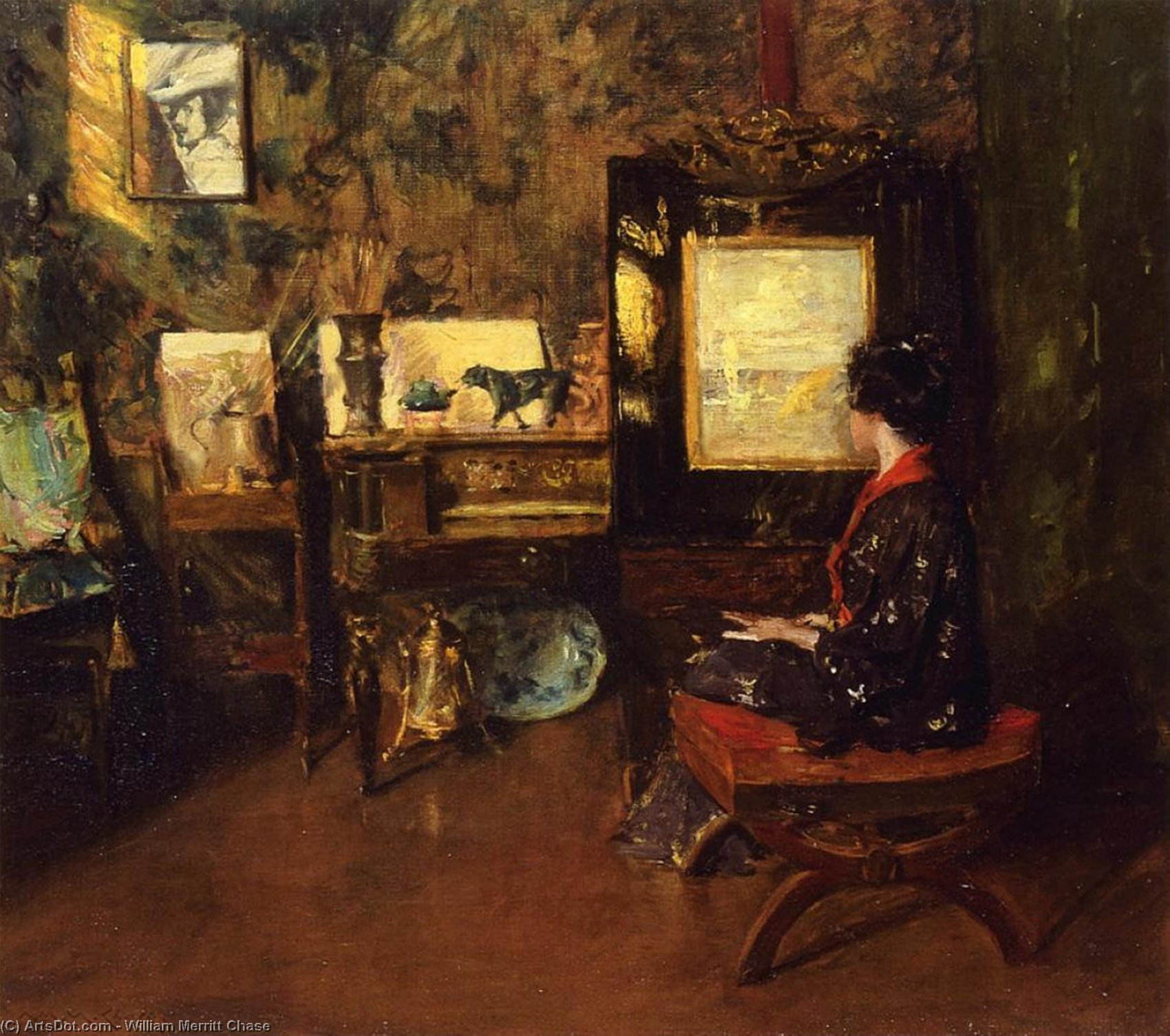 Alice in the Shinnecock Studio, Oil by William Merritt Chase (1849-1916, United States)