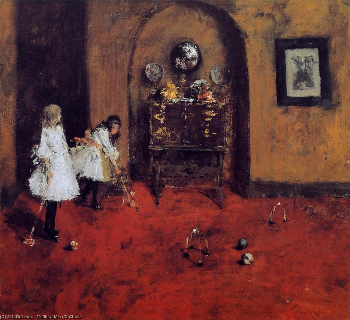 Children Playing Parlor Croquet (sketch), Oil On Canvas by William Merritt Chase (1849-1916, United States)
