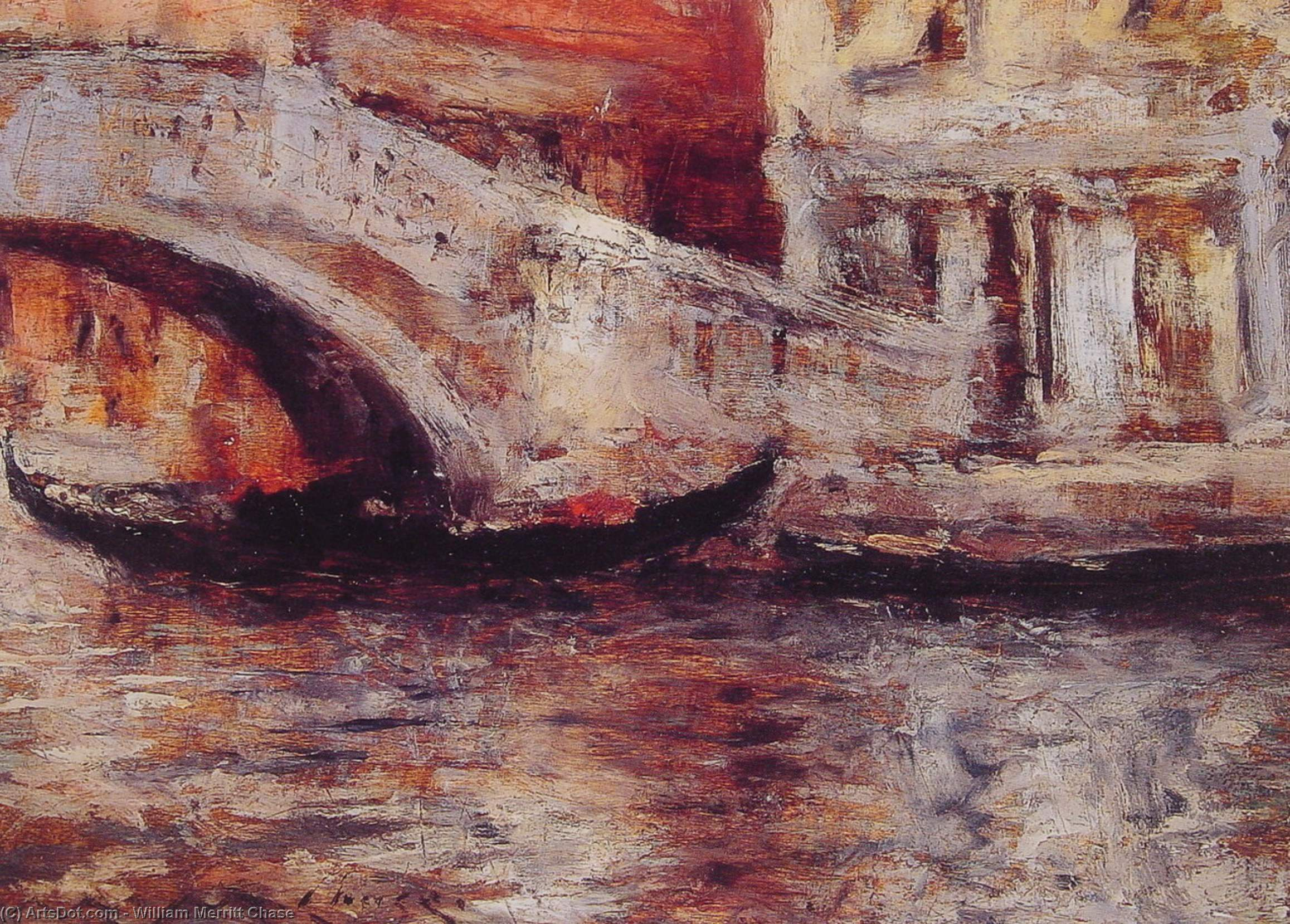 Gondolas Along Venetian Canal, Oil by William Merritt Chase (1849-1916, United States)
