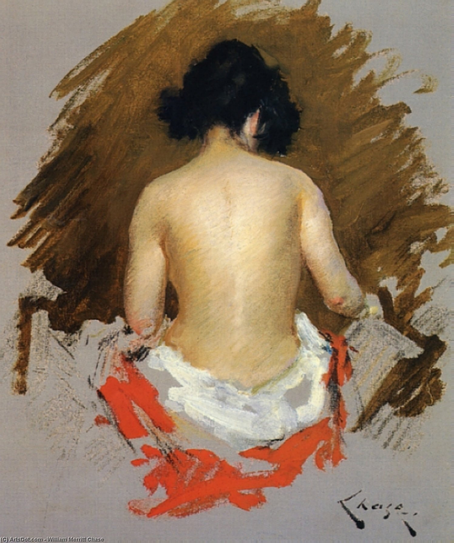 Nude, Pastel by William Merritt Chase (1849-1916, United States)