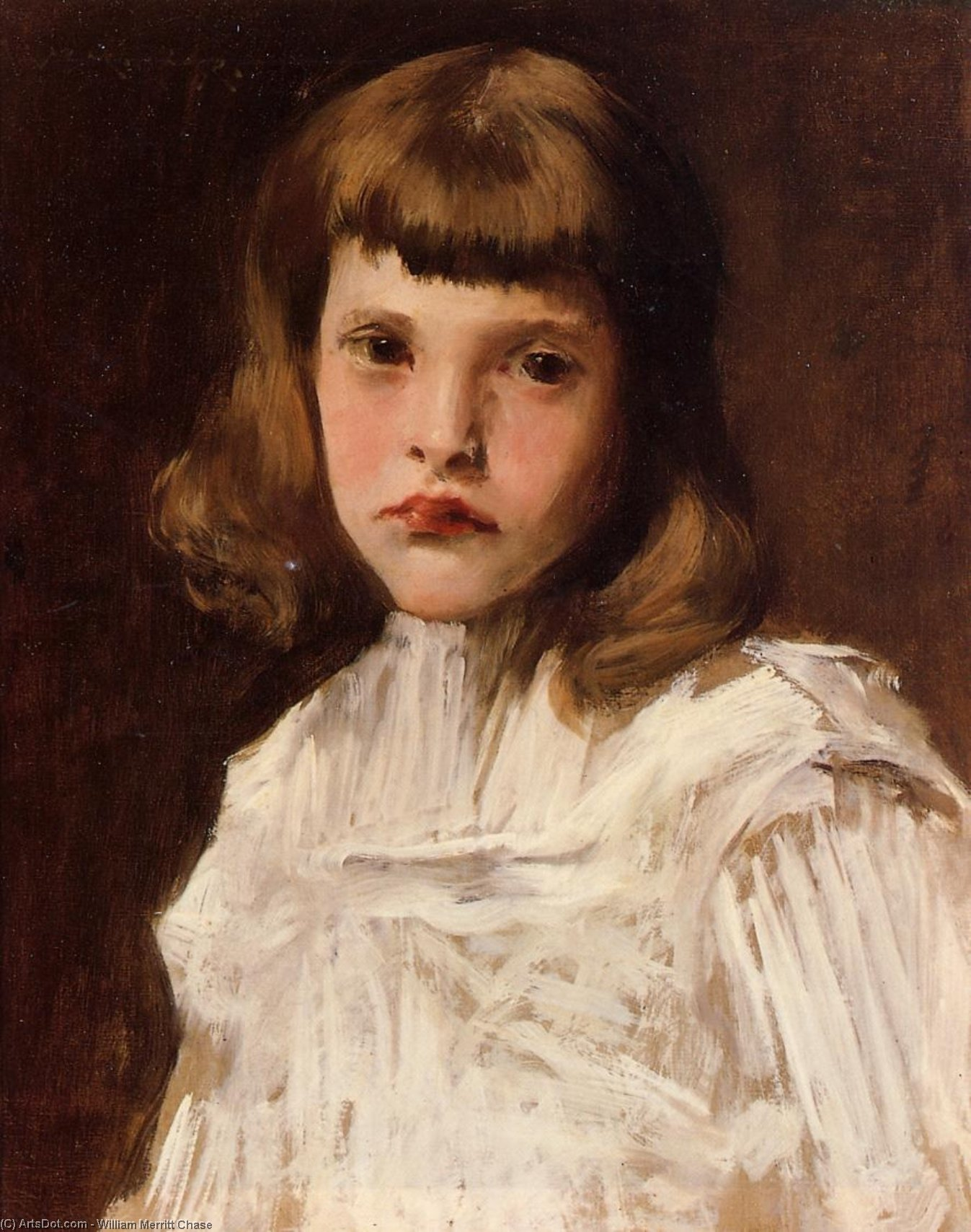 Portrait of Dorothy, Oil On Canvas by William Merritt Chase (1849-1916, United States)