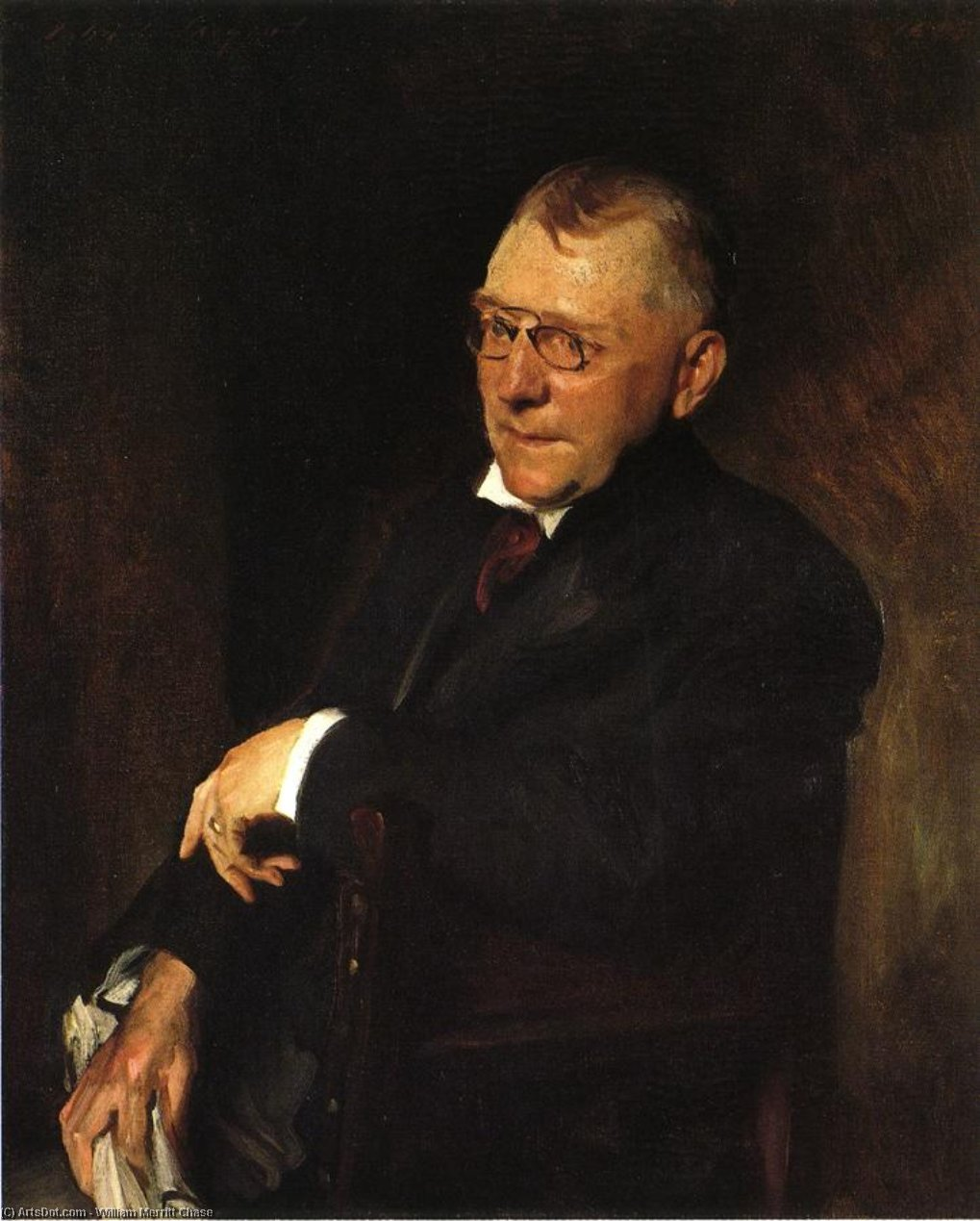 Portrait of James Whitcomb Riley, Oil On Canvas by William Merritt Chase (1849-1916, United States)