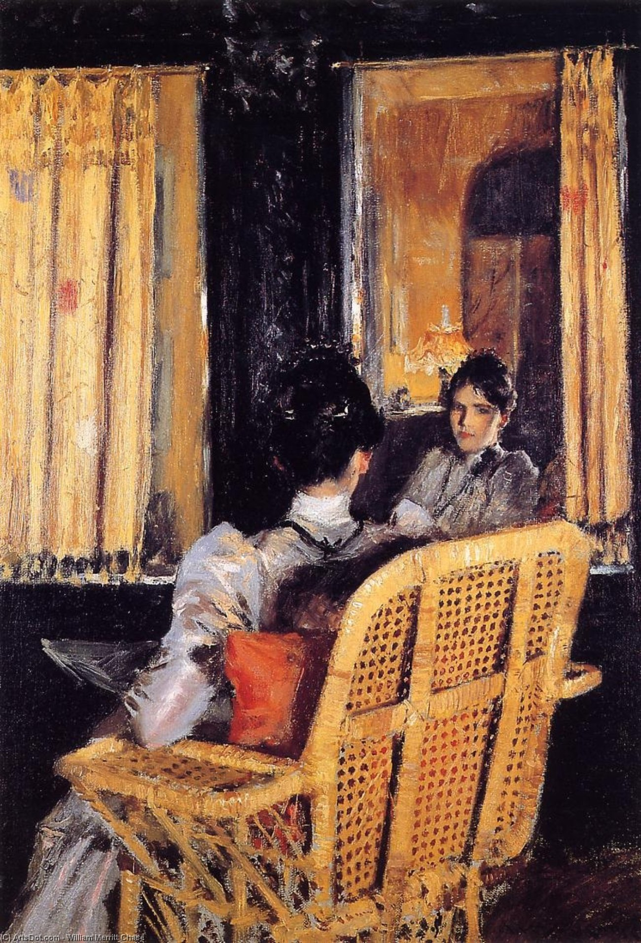 Reflection, Oil On Canvas by William Merritt Chase (1849-1916, United States)