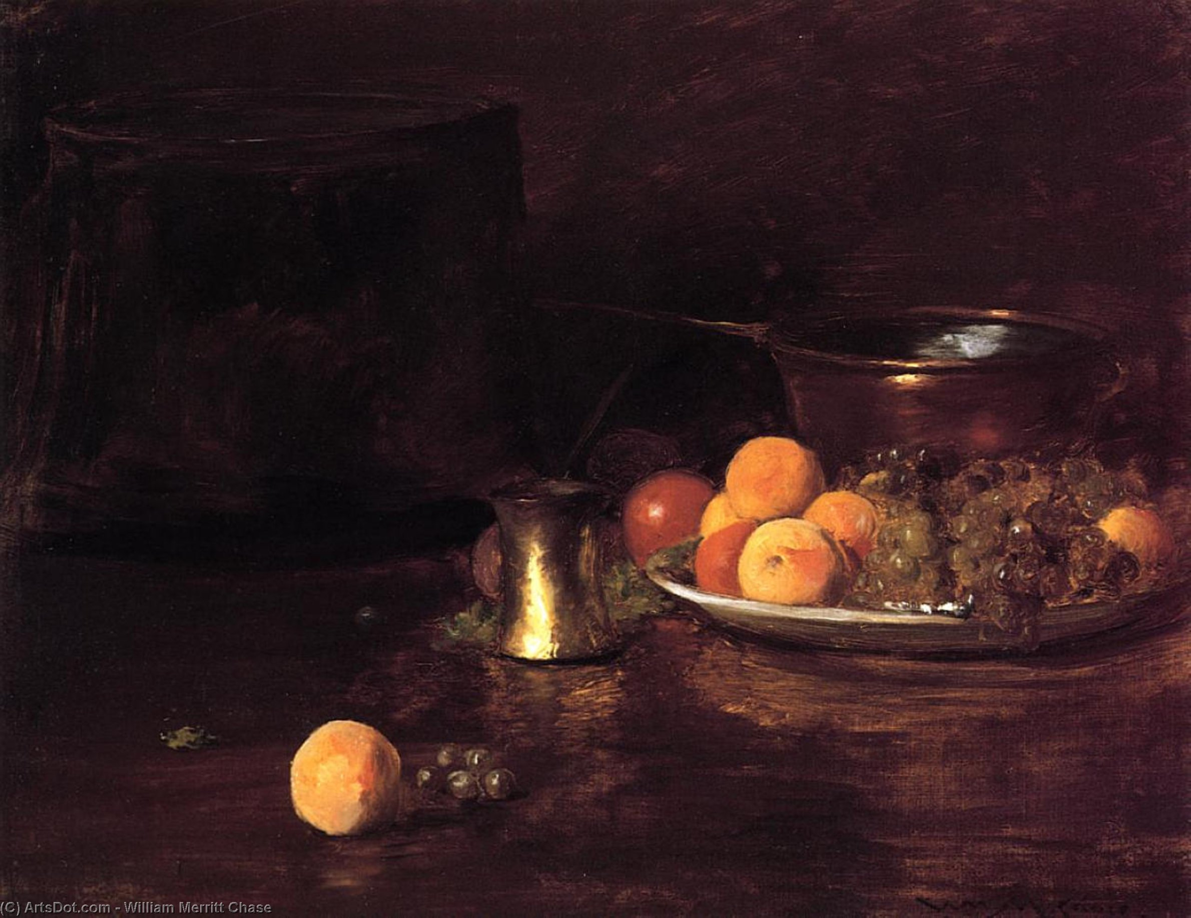Still Life - Fruit, Oil On Canvas by William Merritt Chase (1849-1916, United States)