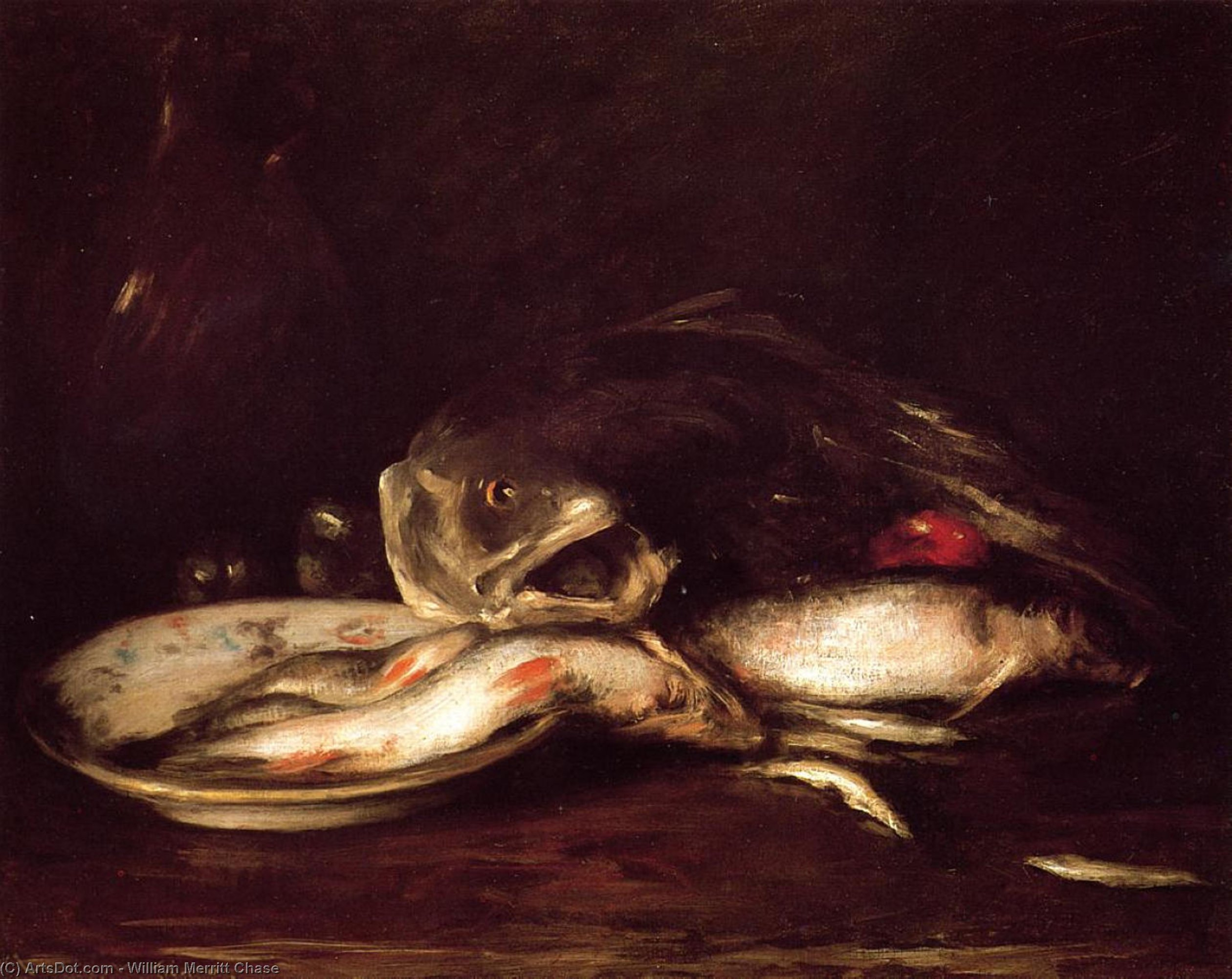 Still Llife with Fish and Plate, Oil by William Merritt Chase (1849-1916, United States)