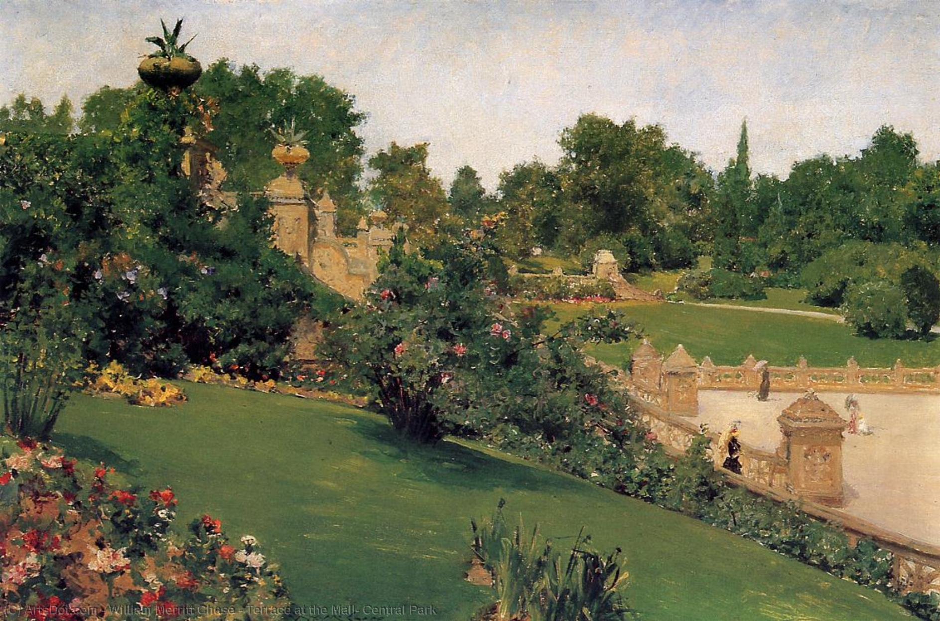 Terrace at the Mall, Central Park, 1890 by William Merritt Chase (1849-1916, United States) | Paintings Reproductions William Merritt Chase | ArtsDot.com
