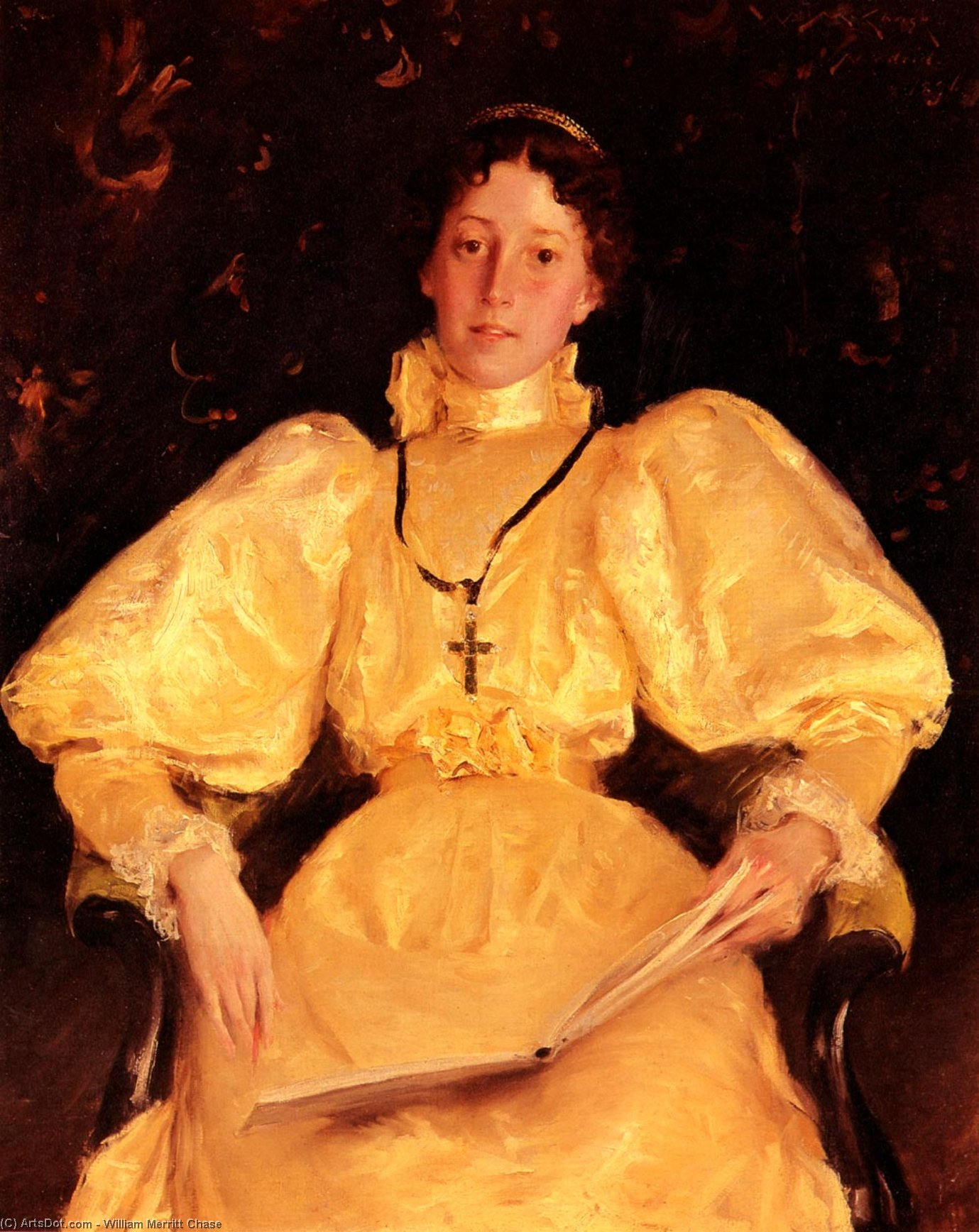 The Golden Lady, Oil On Canvas by William Merritt Chase (1849-1916, United States)