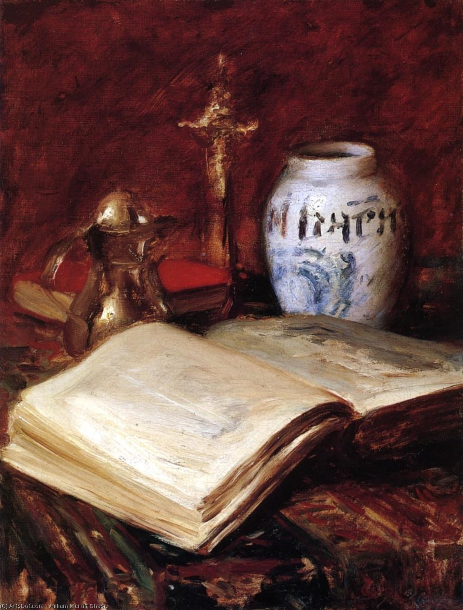 The Old Book, Oil On Canvas by William Merritt Chase (1849-1916, United States)