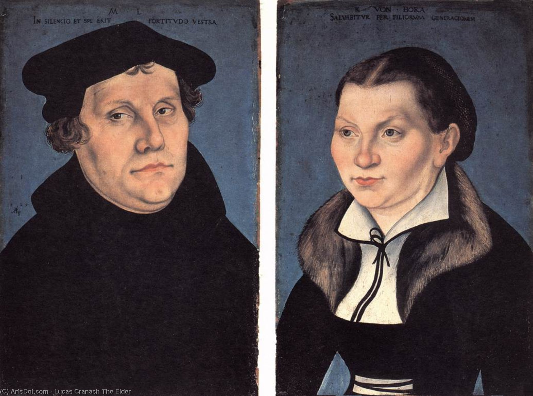 Diptych with the Portraits of Luther and his Wife, Oil On Panel by Lucas Cranach The Elder (1472-1553, Germany)