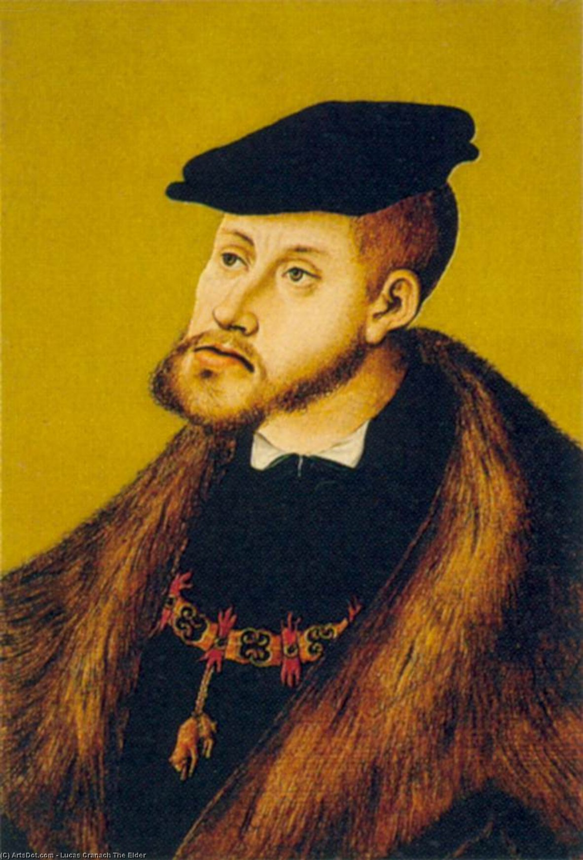 Portrait of Charles V, Oil by Lucas Cranach The Elder (1472-1553, Germany)