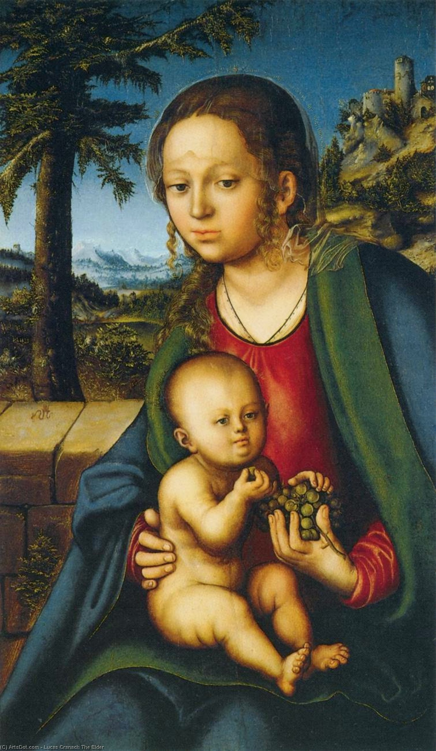 Virgin and Child with a Bunch of Grapes, Oil On Panel by Lucas Cranach The Elder (1472-1553, Germany)