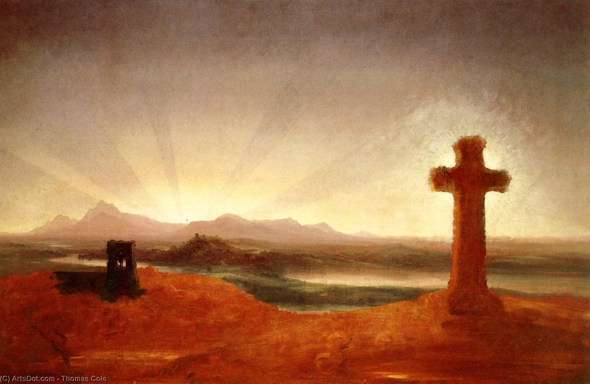 Cross at Sunset, Oil On Canvas by Thomas Cole (1801-1848, United Kingdom)
