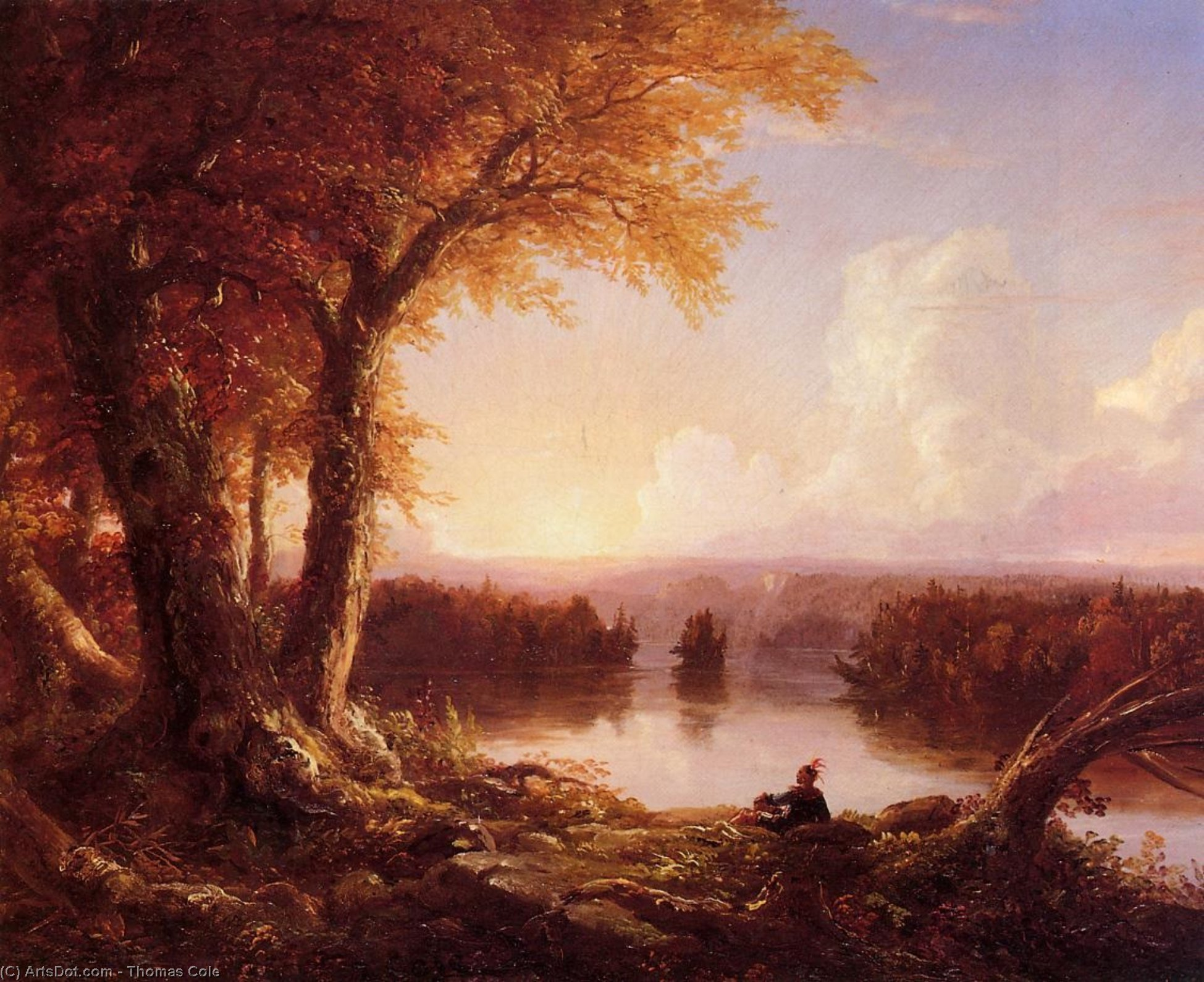 Indian at Sunset, Oil On Canvas by Thomas Cole (1801-1848, United Kingdom)