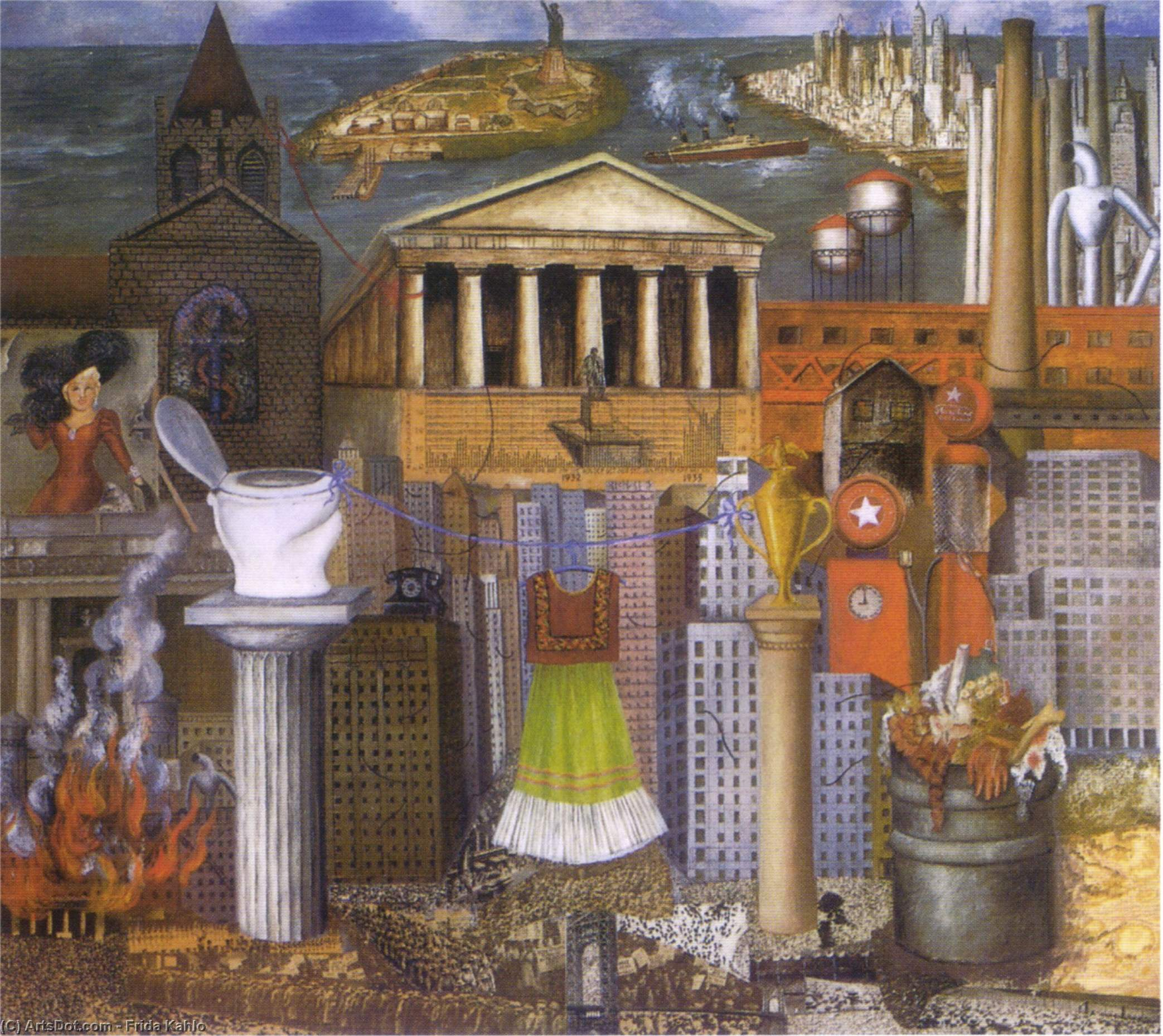 My Dress Hangs There, Oil by Frida Kahlo (1907-1954, Mexico)