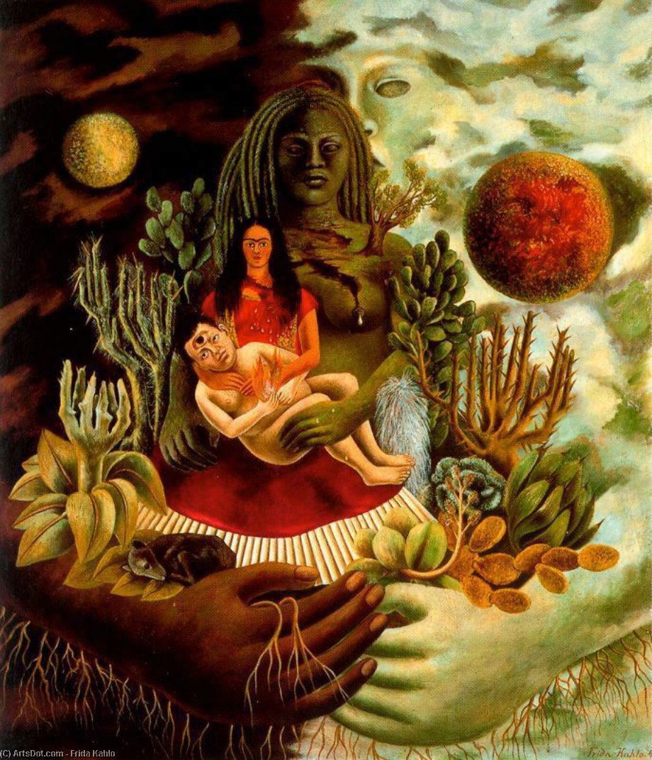 The Love Embrace of the Universe, The earth (Mexico), Myself, Diego and Señor Xó, Oil by Frida Kahlo (1907-1954, Mexico)