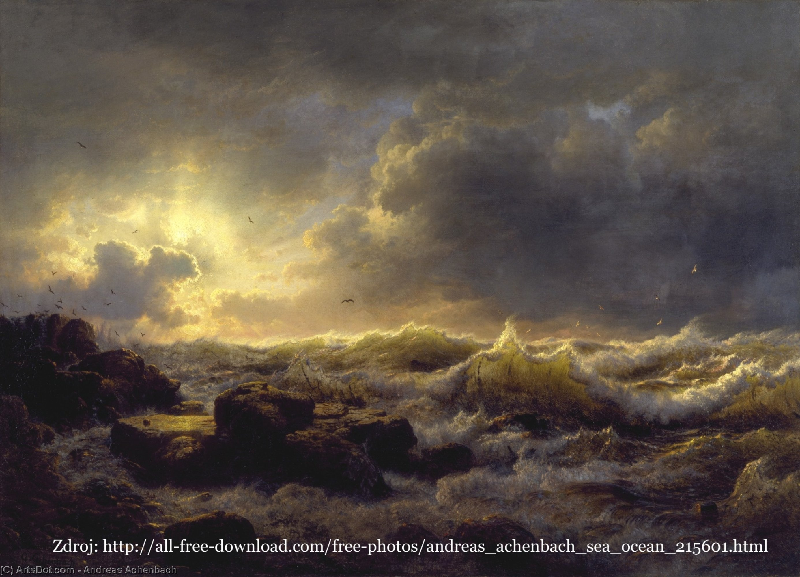 Clearing Up--Coast of Sicily by Andreas Achenbach (1815-1910, Germany) | Museum Quality Copies Andreas Achenbach | ArtsDot.com