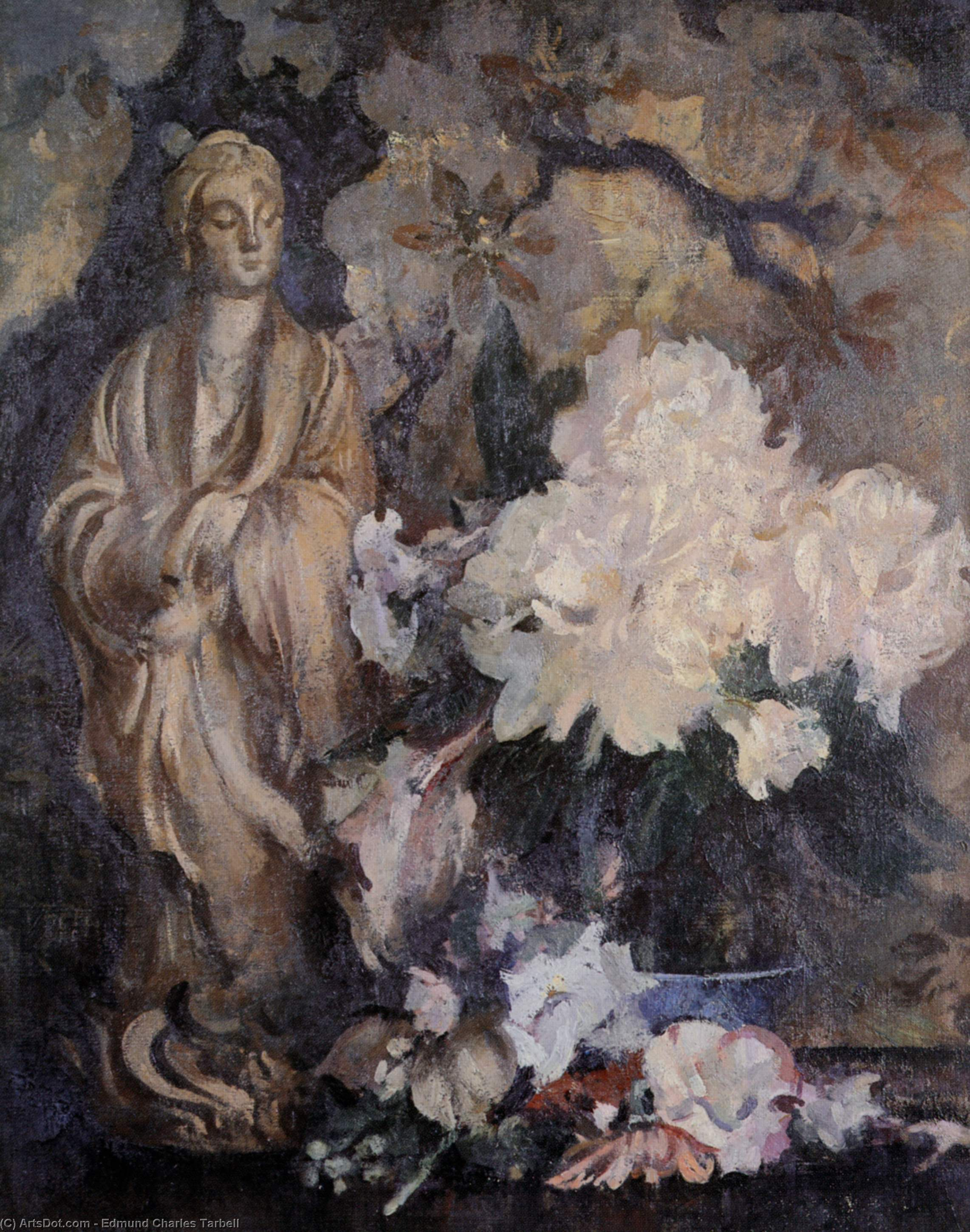 Still Life with Oriental Statue, Oil On Canvas by Edmund Charles Tarbell (1862-1938, United States)