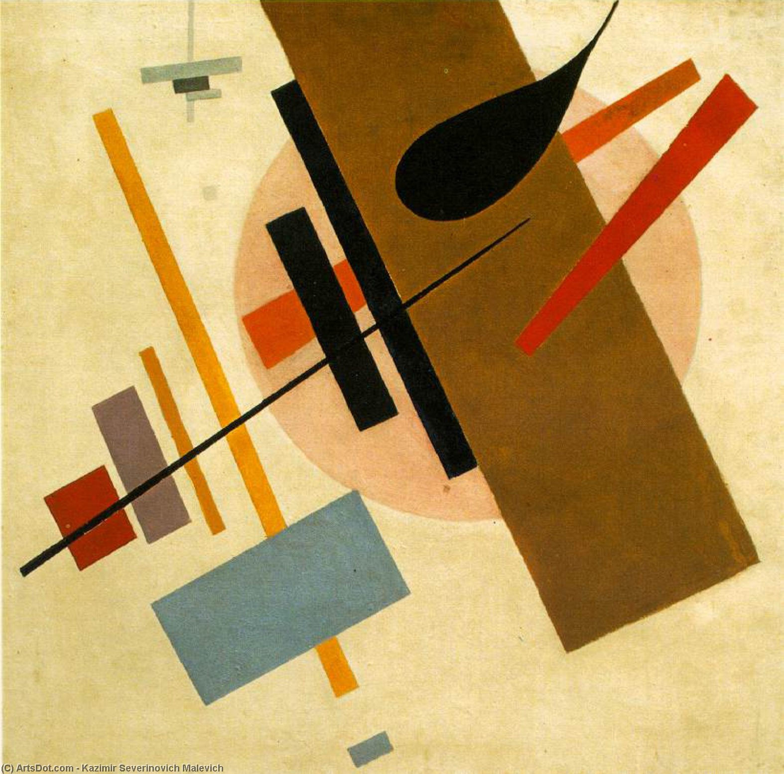 Suprematism 2, Oil by Kazimir Severinovich Malevich (1878-1935, Ukraine)