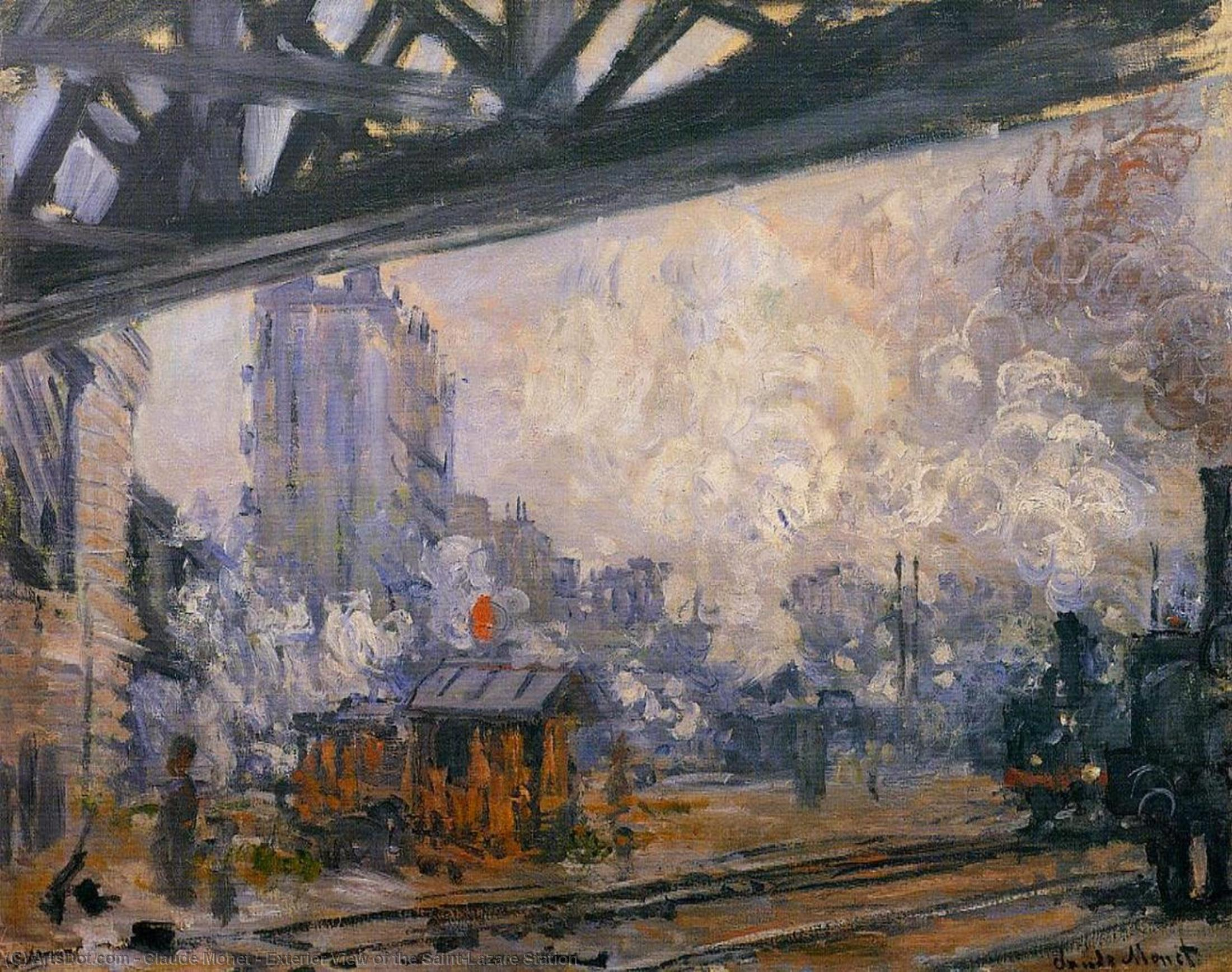Exterior View of the Saint-Lazare Station by Claude Monet (1840-1926, France) | Painting Copy | ArtsDot.com