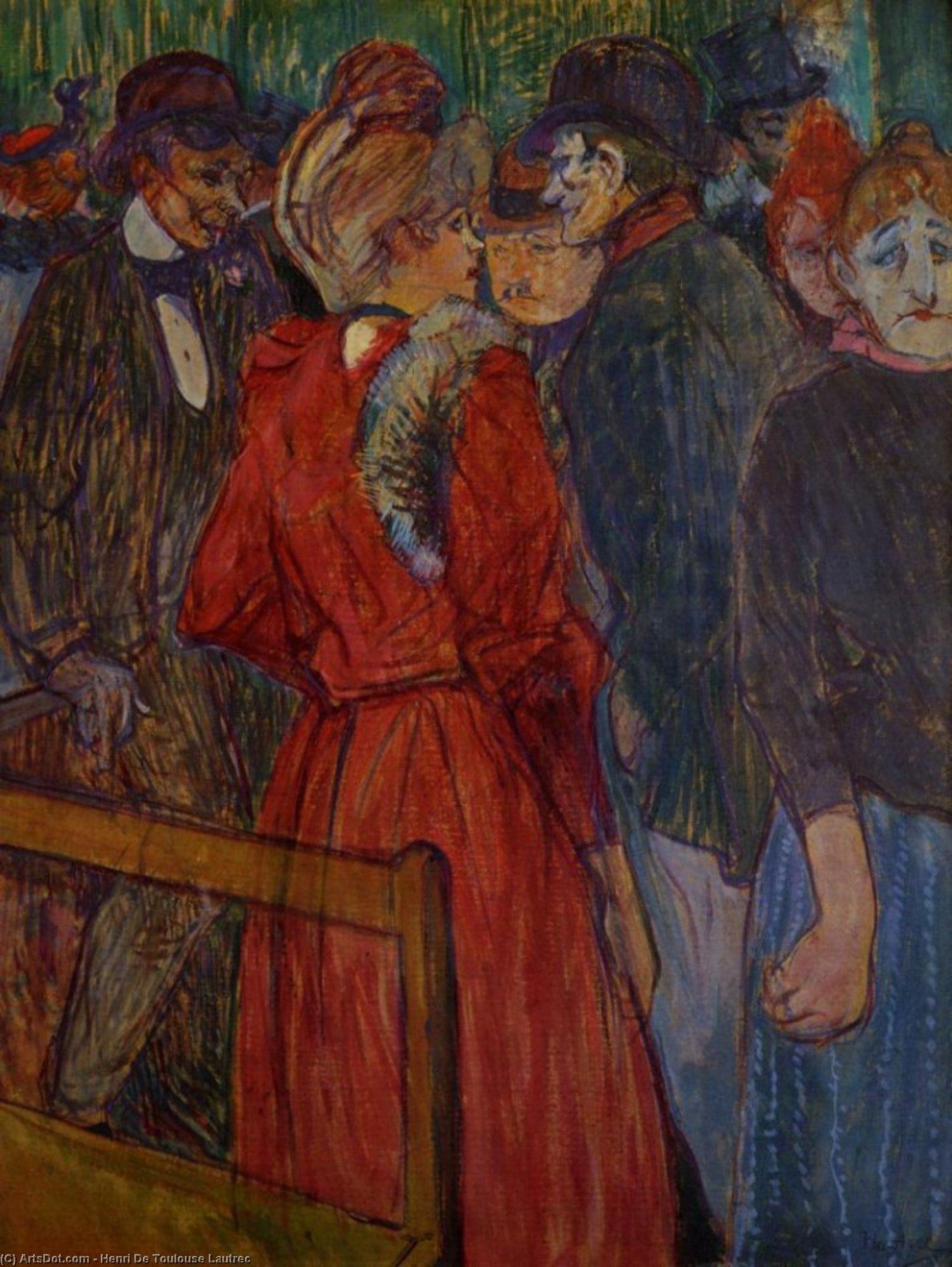 At the Moulin de la Galette, Oil by Henri De Toulouse Lautrec (1864-1901, France)