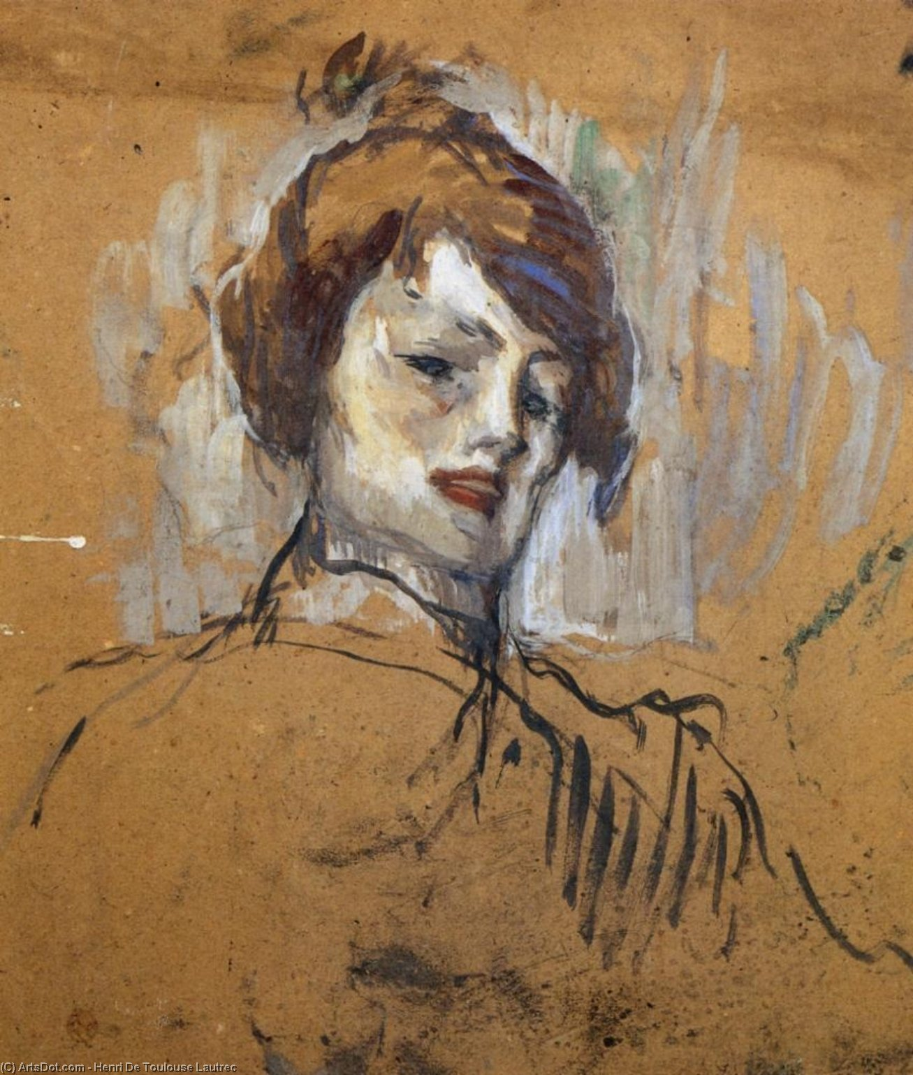 Head of a Woman, Oil On Panel by Henri De Toulouse Lautrec (1864-1901, France)